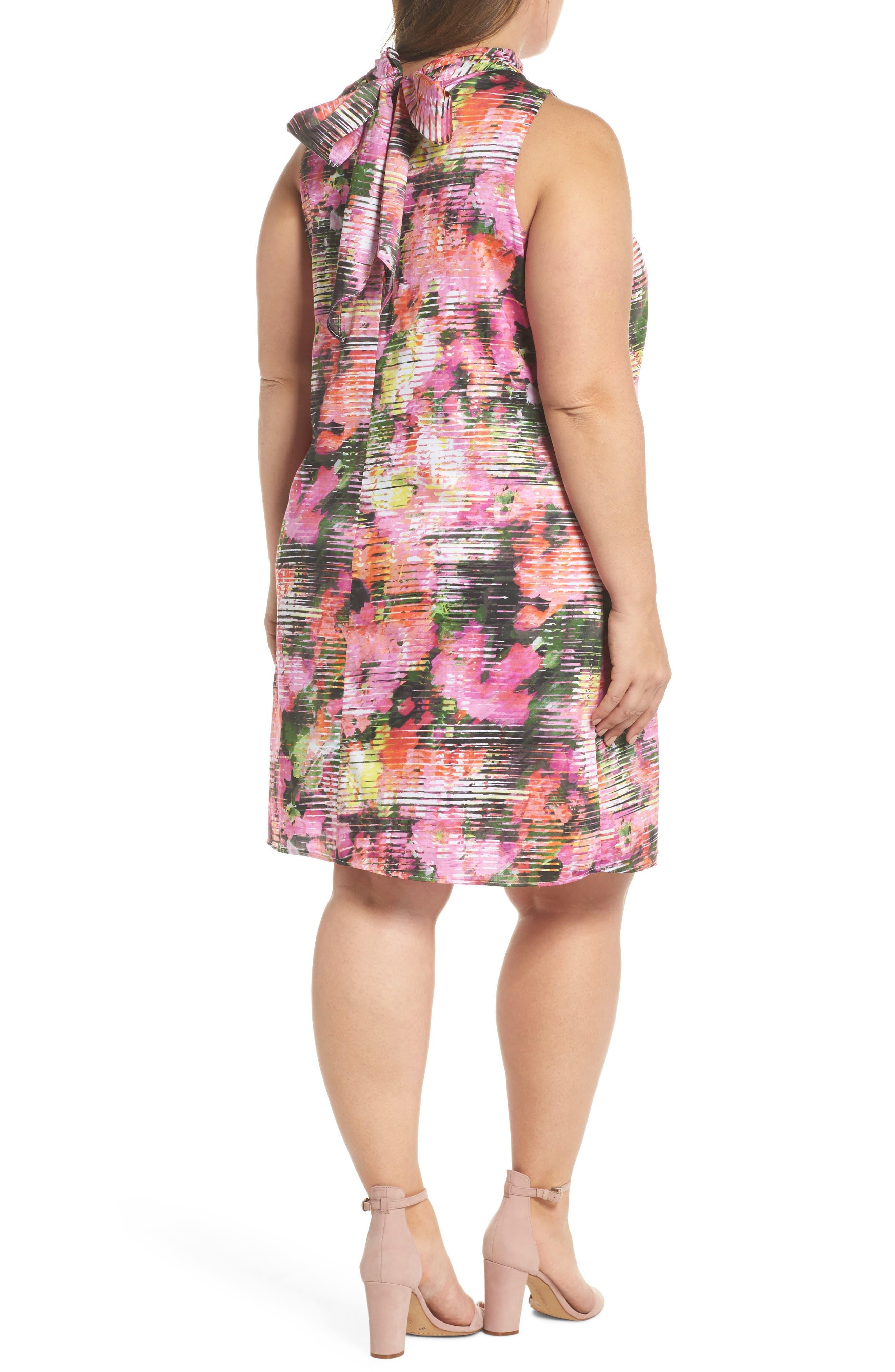 Back Bow Halter Dress,                             Alternate thumbnail 2, color,                             SOFT WHITE/ PINKS