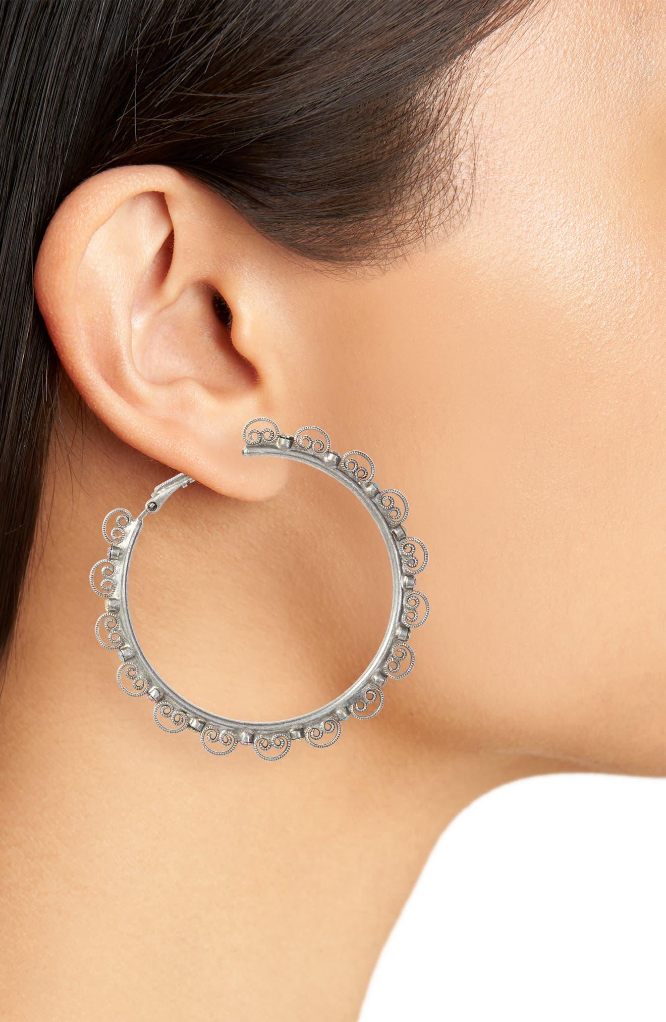 Foxglove Crystal Hoop Earrings,                             Alternate thumbnail 2, color,                             040