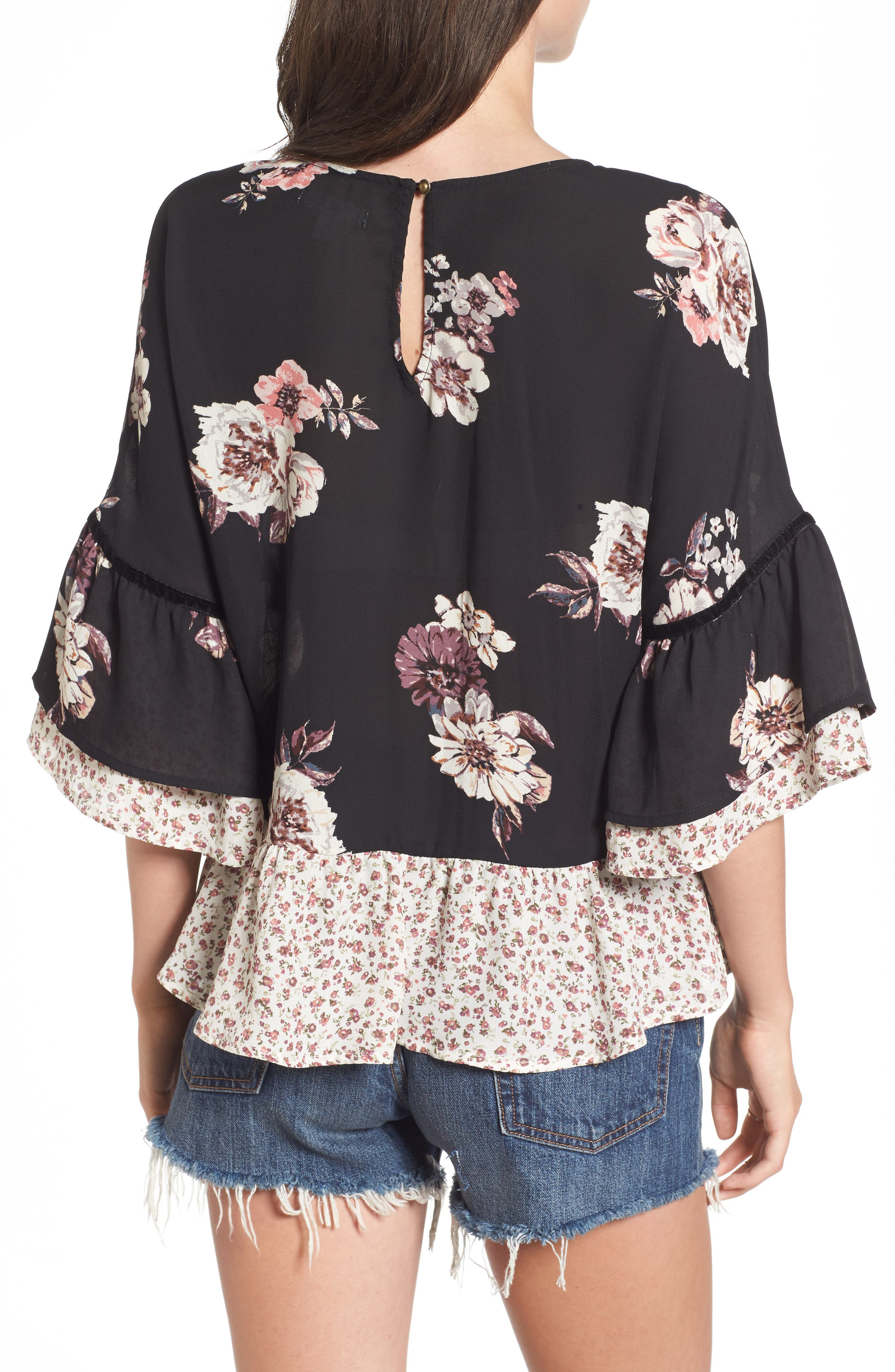Remix Floral Peplum Top,                             Alternate thumbnail 2, color,                             001