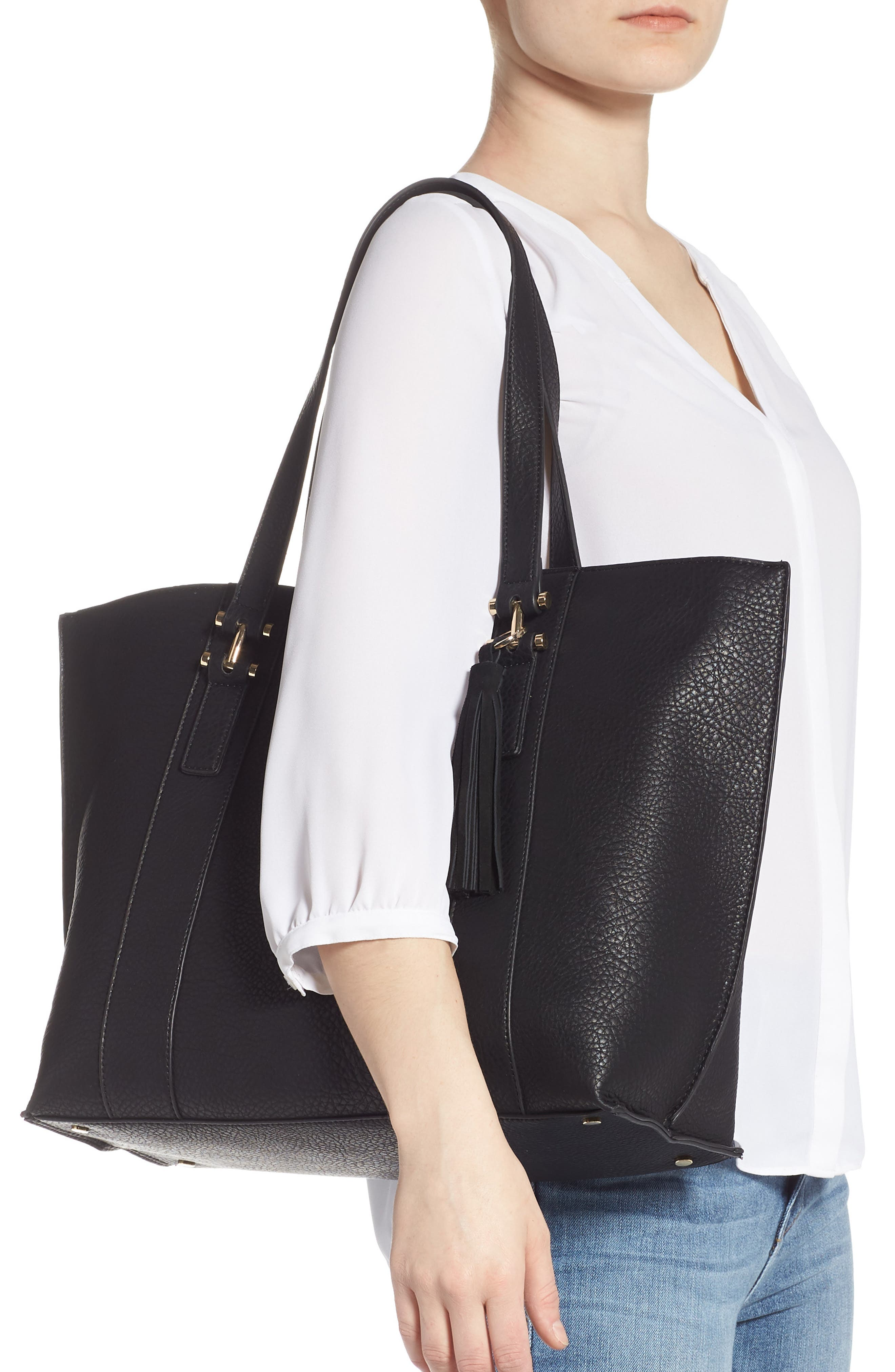 March Faux Leather Tote,                             Alternate thumbnail 2, color,                             BLACK