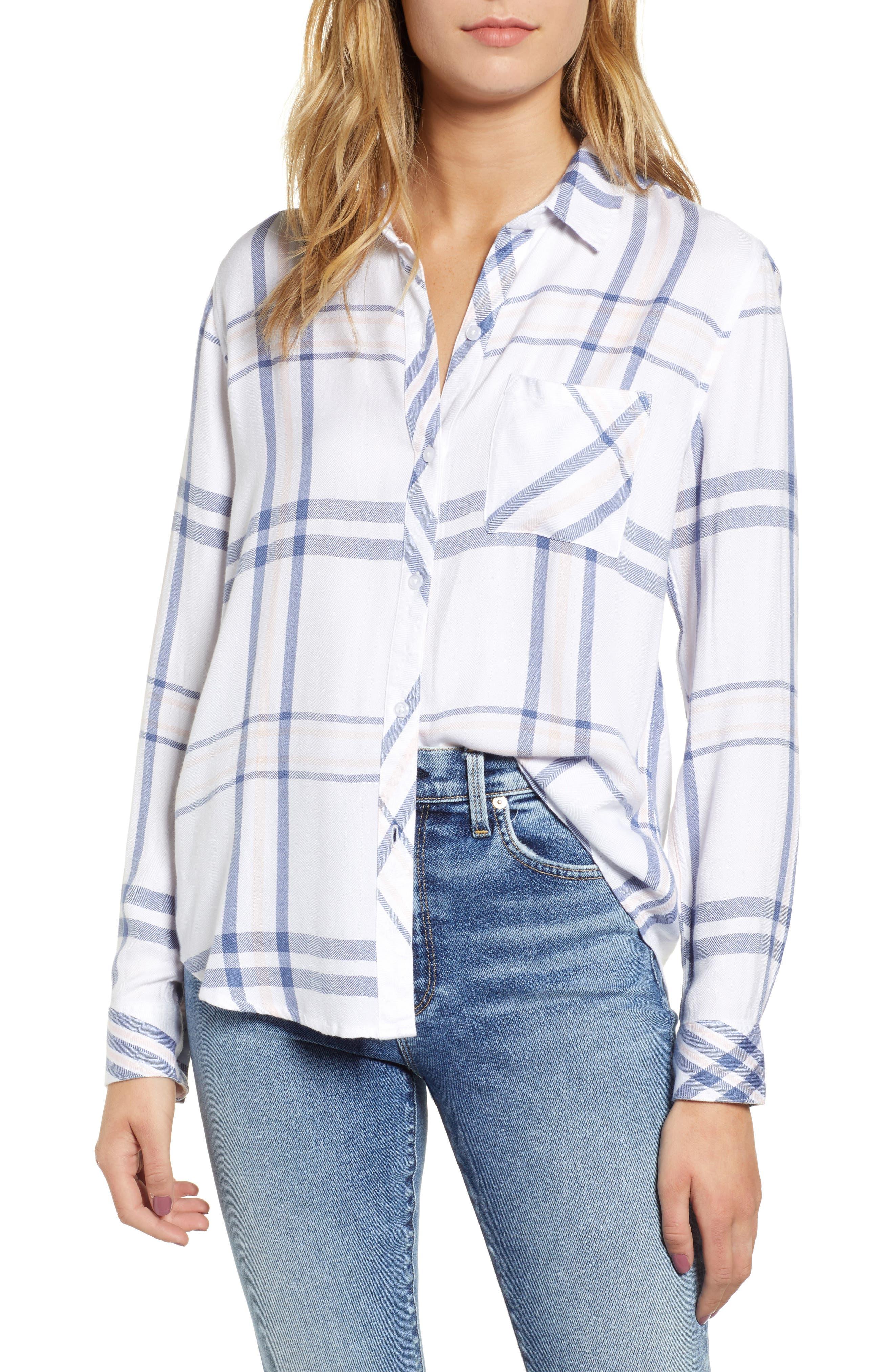Hunter Plaid Shirt,                         Main,                         color, INDIGO POWDER BLUSH
