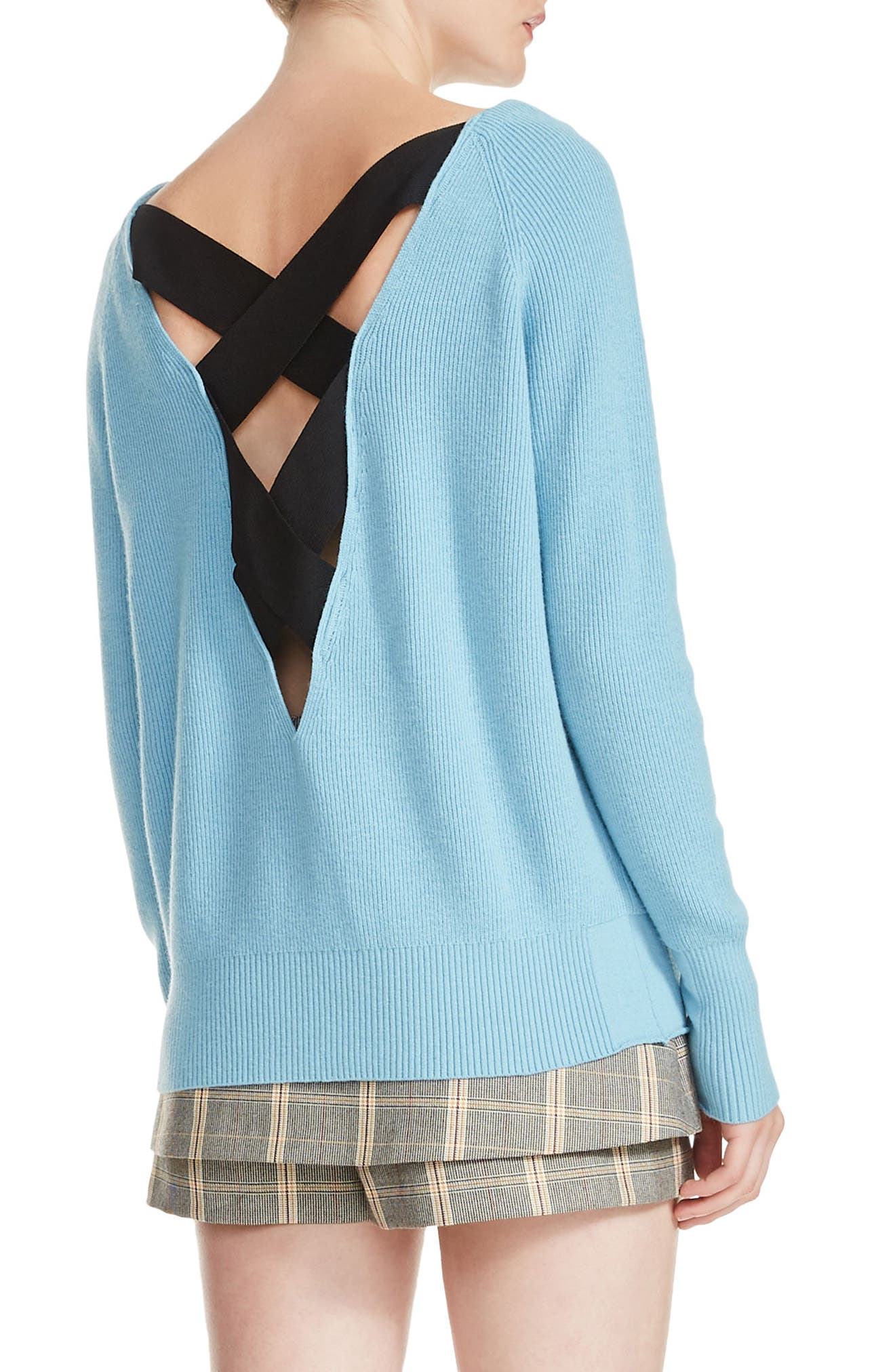 Moon Crisscross Back Rib Knit Sweater,                             Alternate thumbnail 2, color,                             400