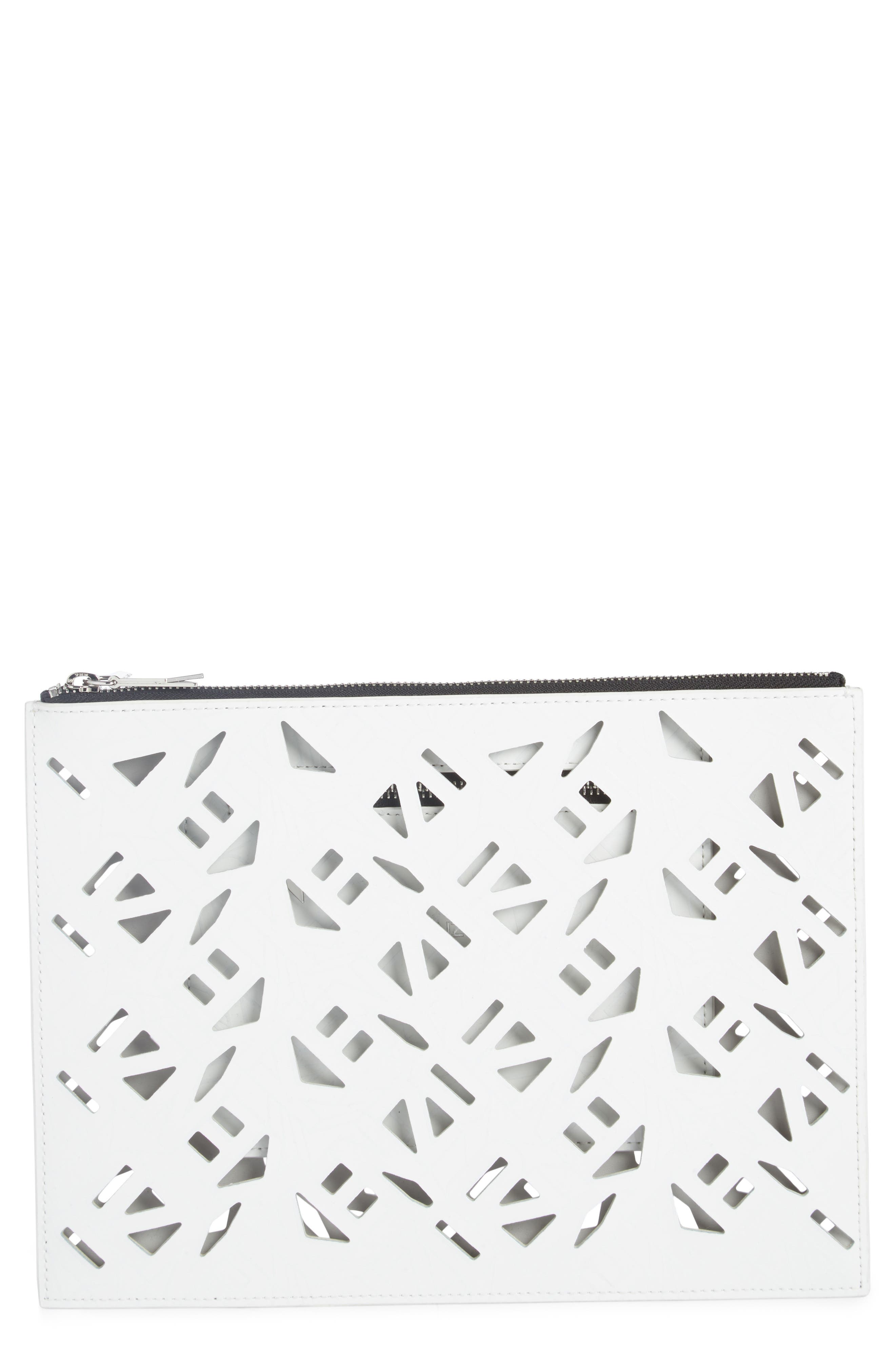 Art Gummy Perforated Leather A4 Pouch,                             Main thumbnail 1, color,