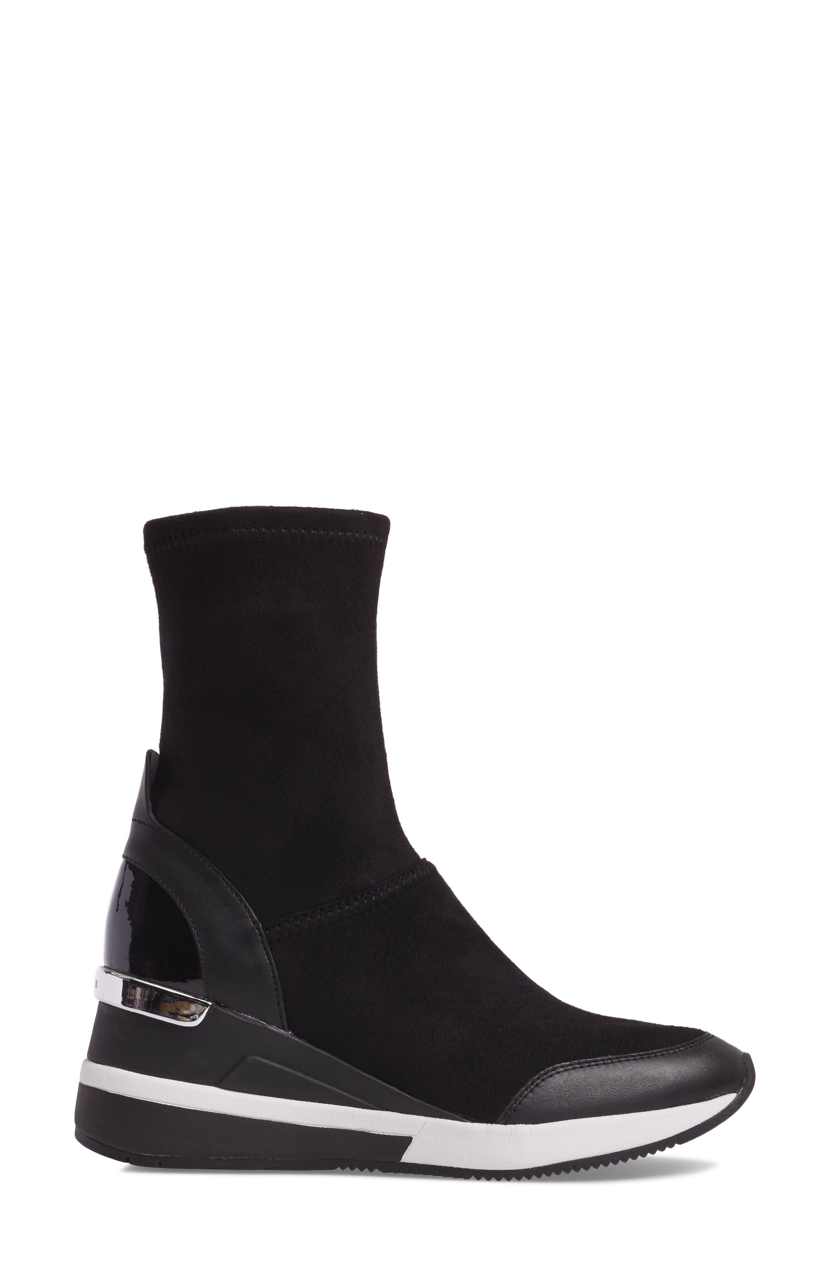 'Ace' Wedge Sneaker Bootie,                             Alternate thumbnail 3, color,                             BLACK SUEDE