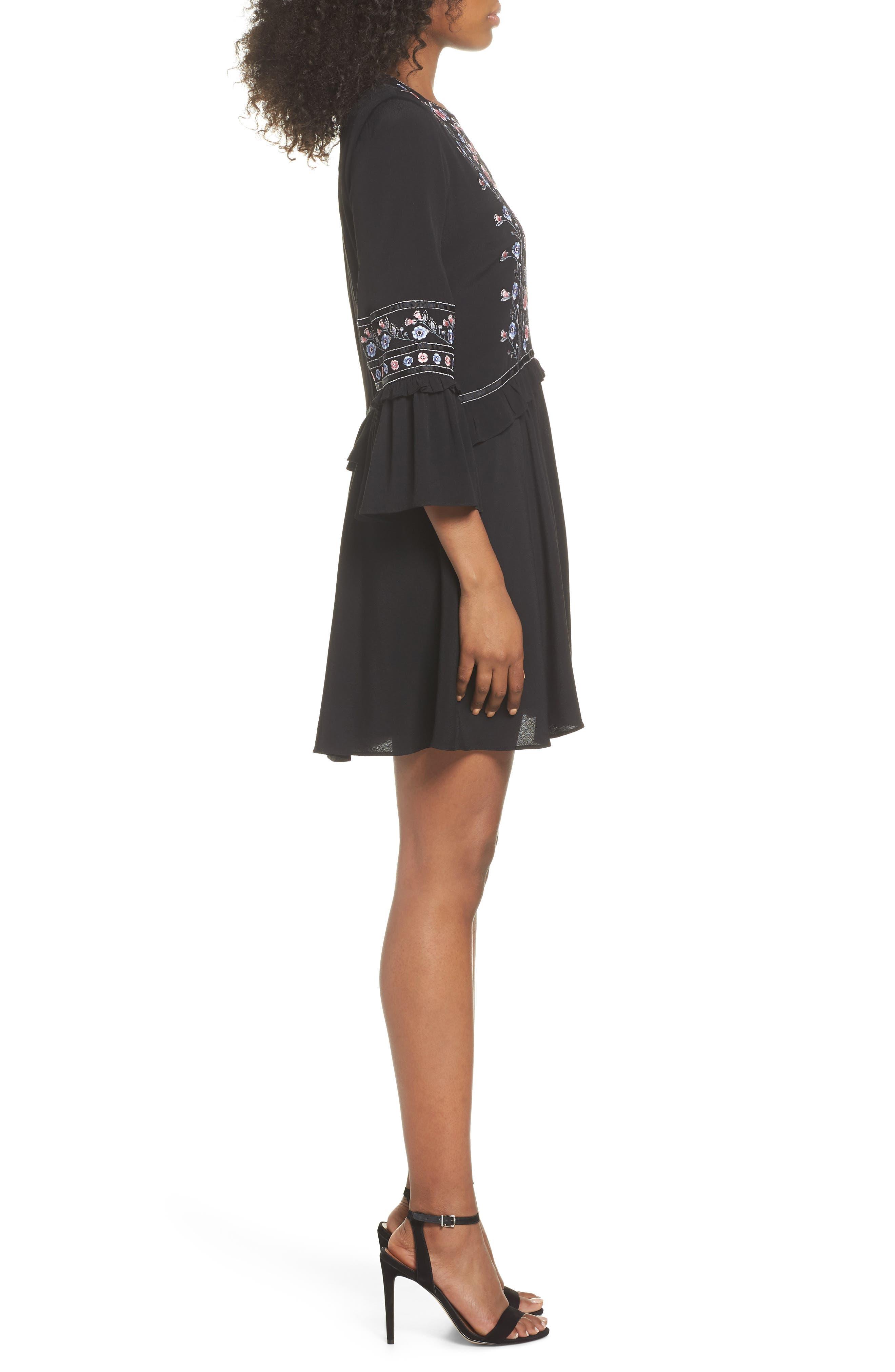 Embroidered Babydoll Dress,                             Alternate thumbnail 3, color,                             BLACK