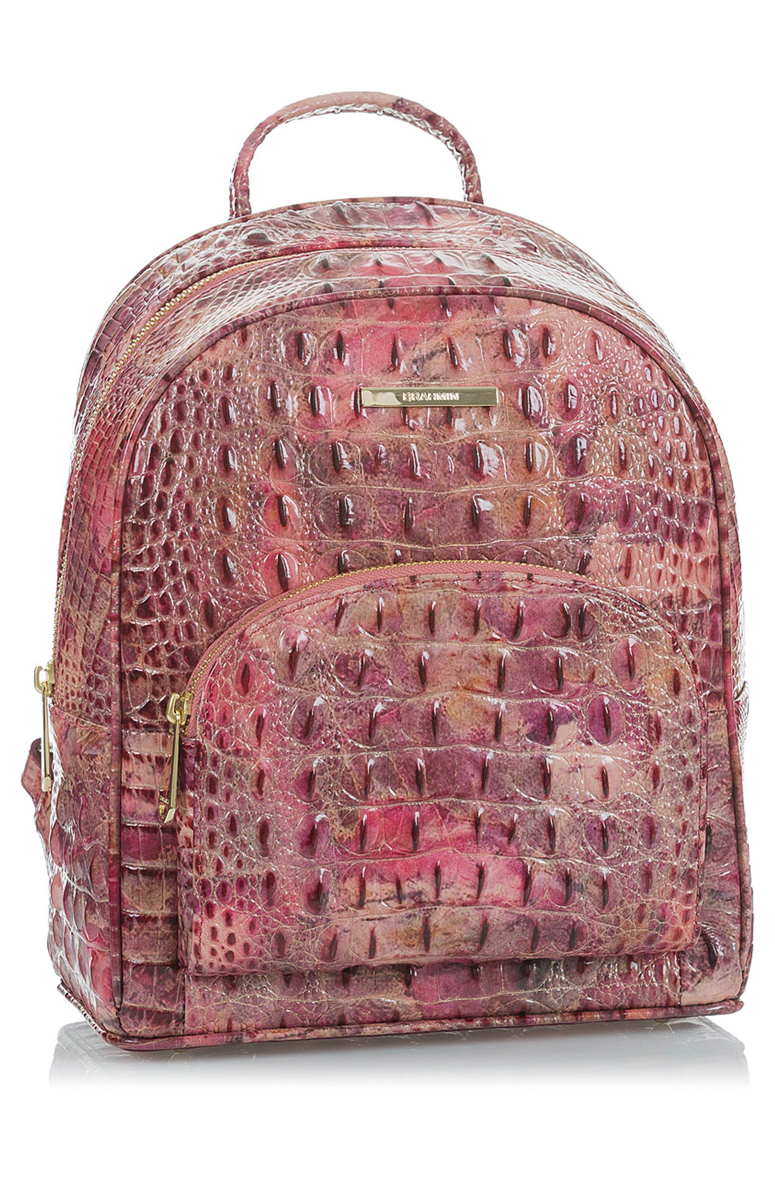 Mini Dartmouth Leather Backpack,                             Alternate thumbnail 5, color,                             WISTERIA
