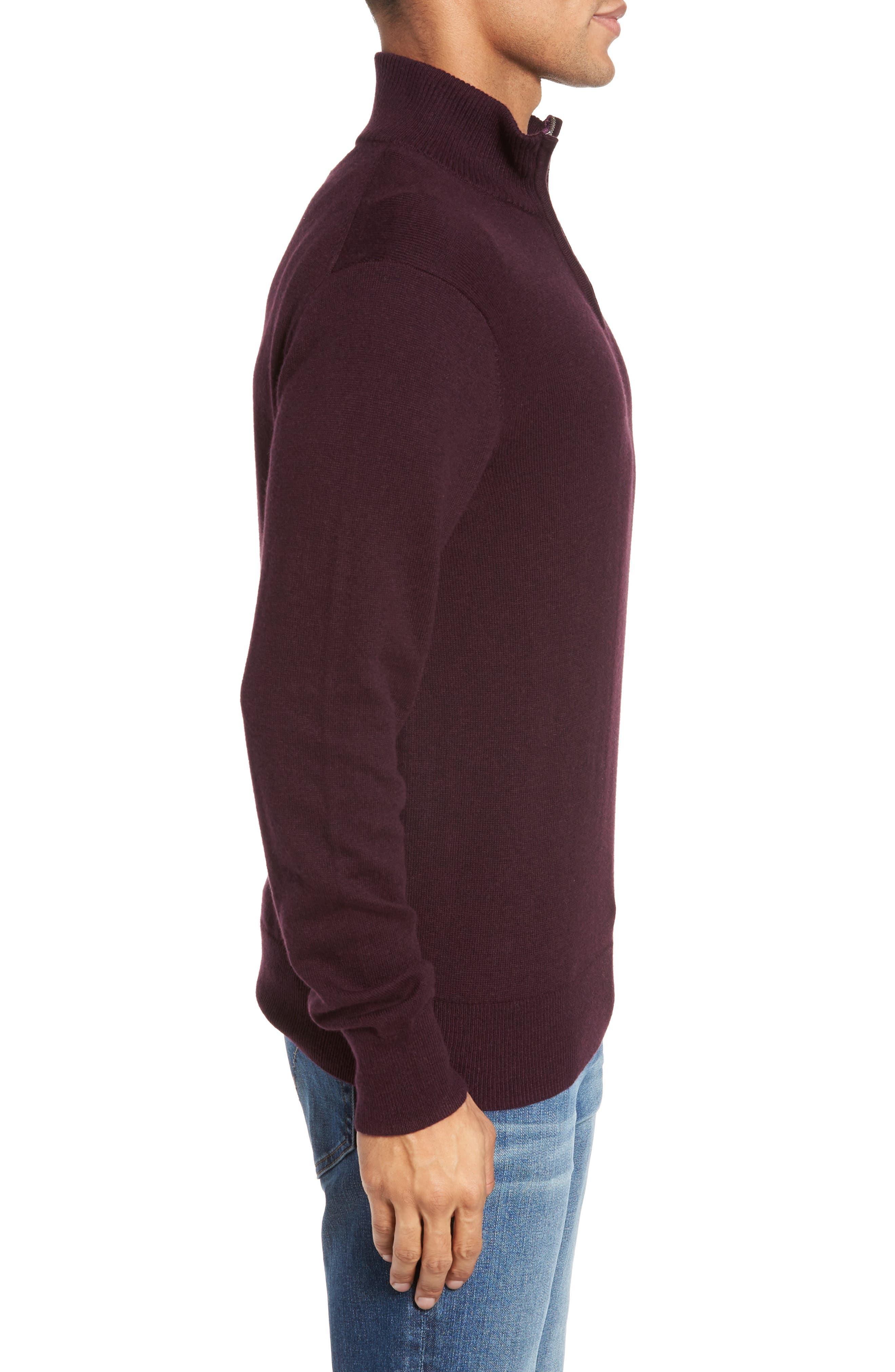 Cotton & Cashmere Quarter Zip Sweater,                             Alternate thumbnail 3, color,                             600