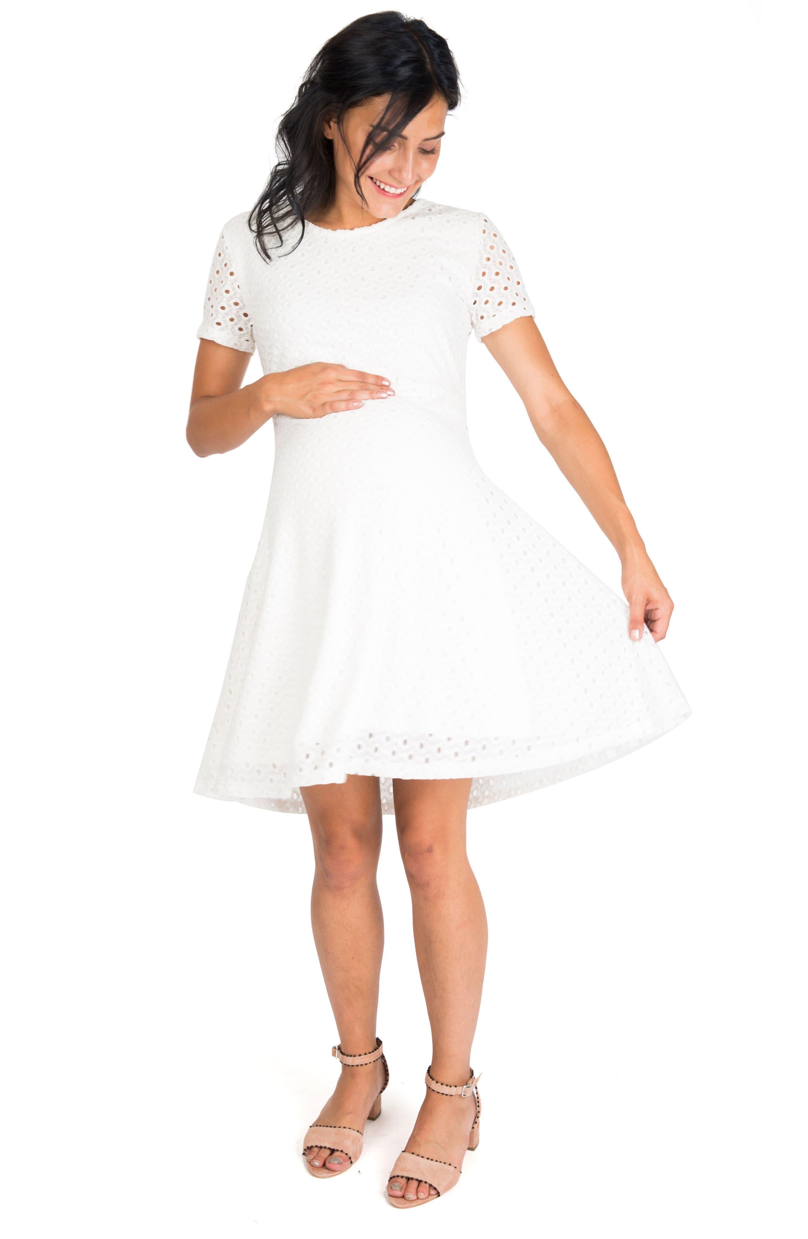 Georgia Maternity Eyelet Dress,                             Alternate thumbnail 4, color,                             WHITE LACE