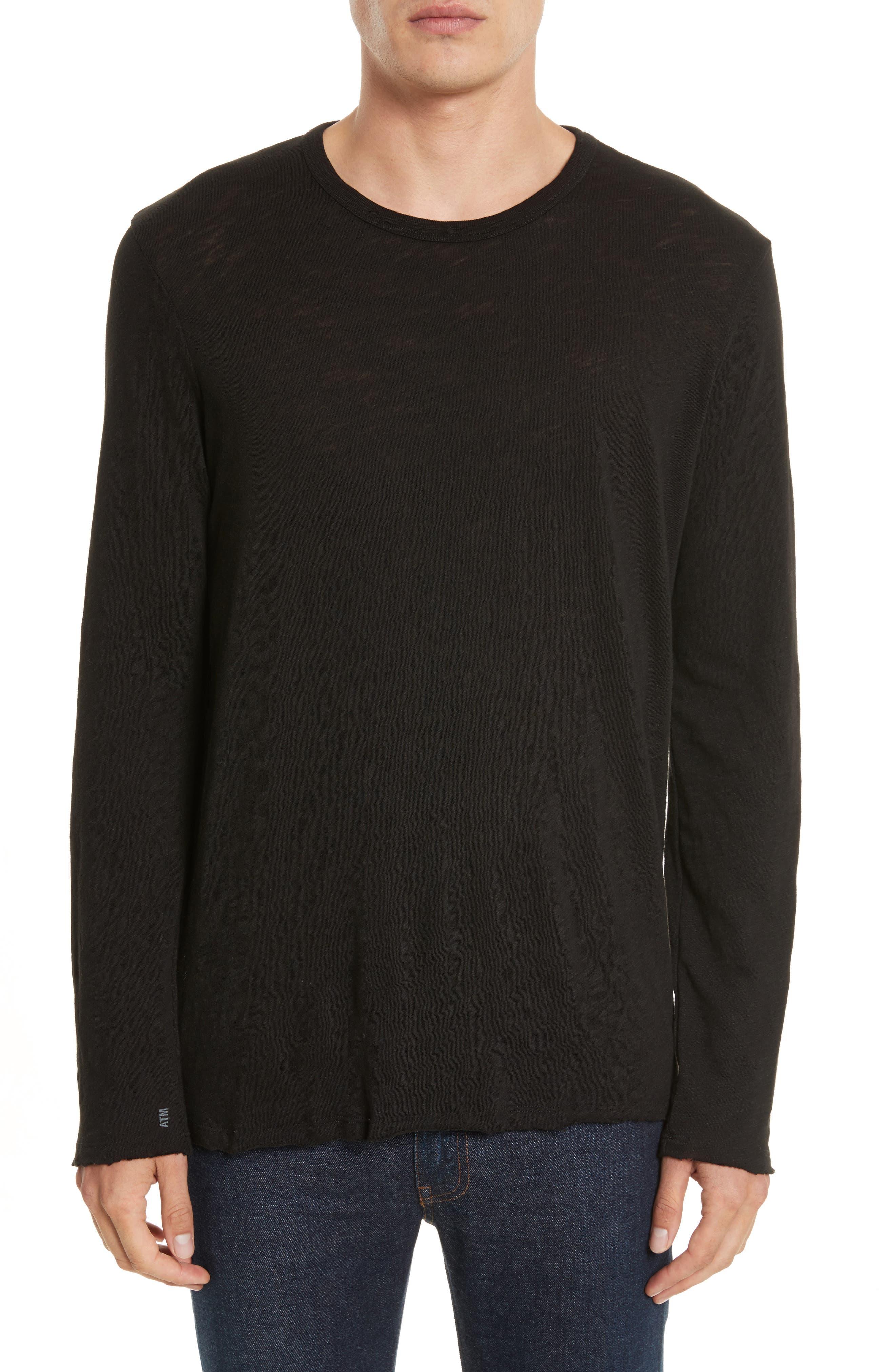 Destroyed Long Sleeve T-Shirt,                         Main,                         color, BLACK