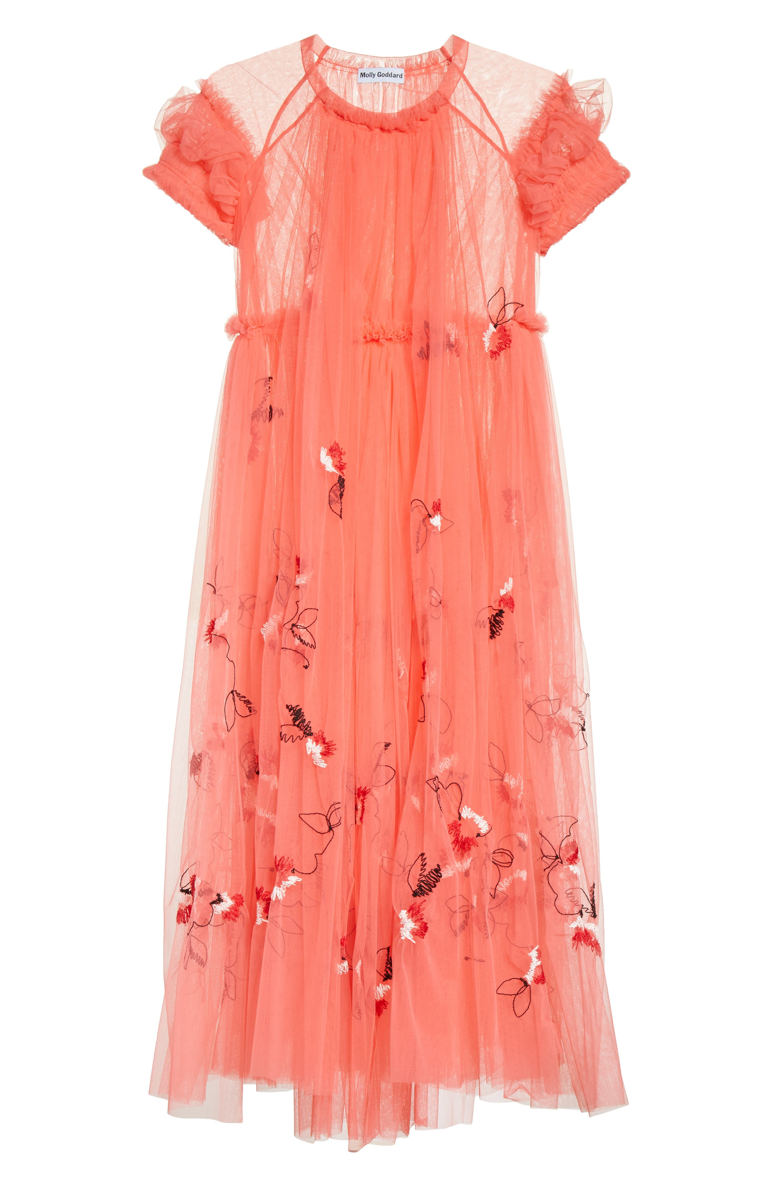 Doris Embroidered Tulle Dress,                             Alternate thumbnail 7, color,                             950
