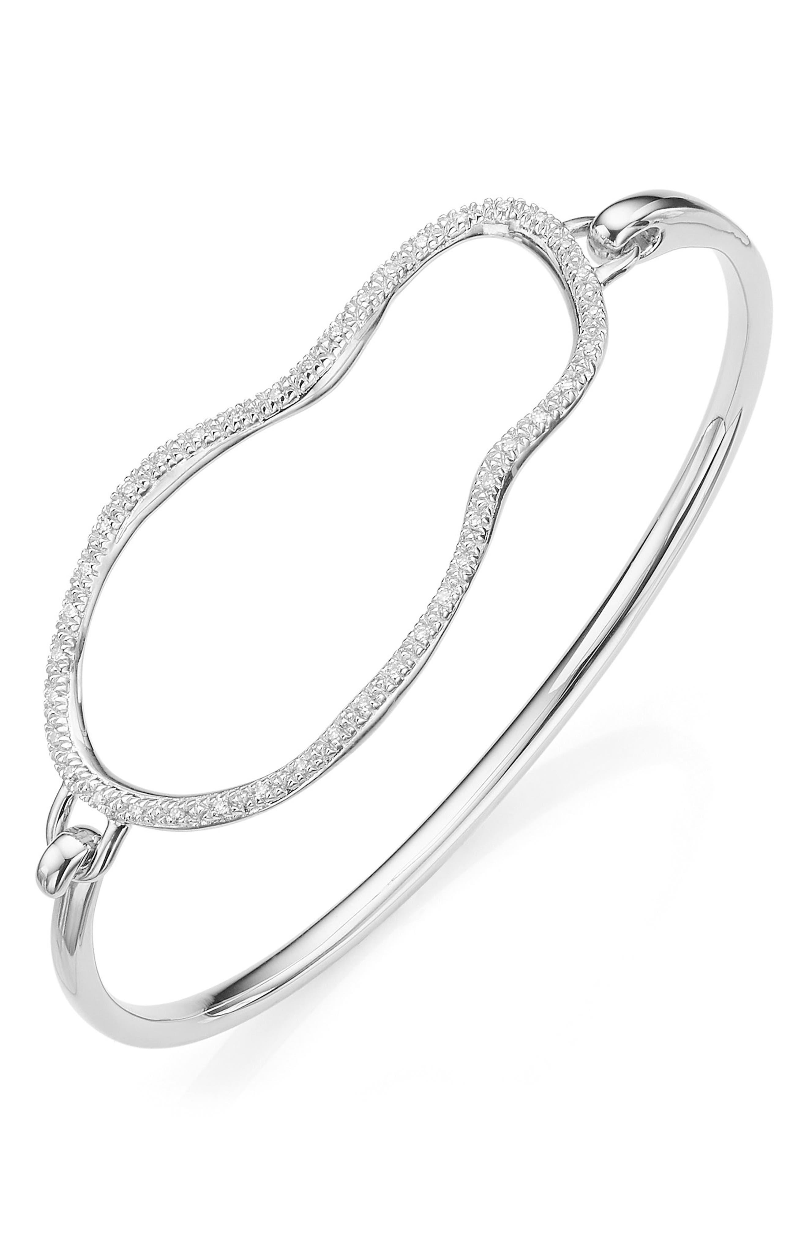 Riva Diamond Hook Bracelet,                             Alternate thumbnail 3, color,                             SILVER/ DIAMOND