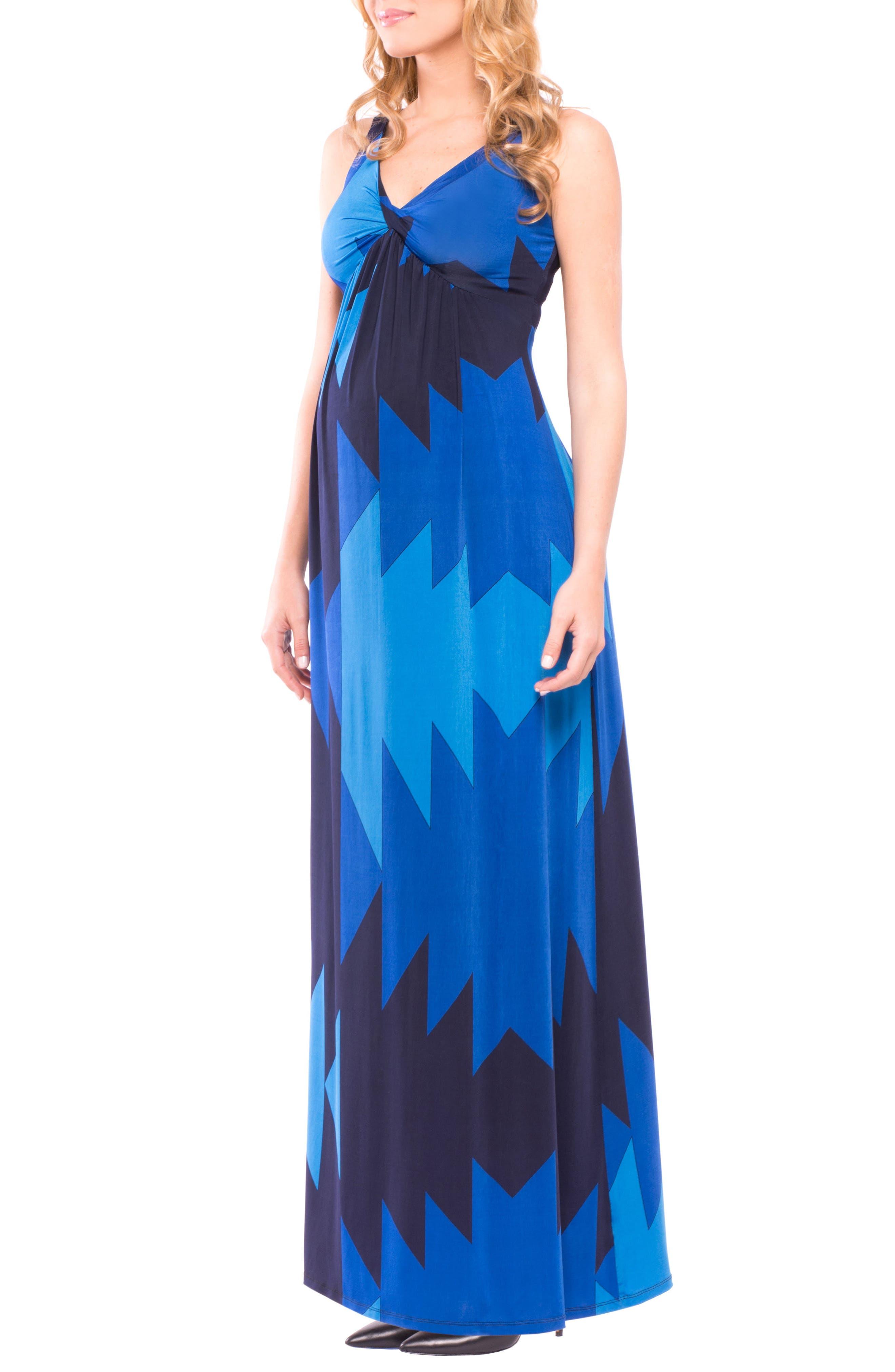 Olivia Sleeveless Maternity Maxi Dress,                             Alternate thumbnail 5, color,                             BLUE AZTEC PRINT