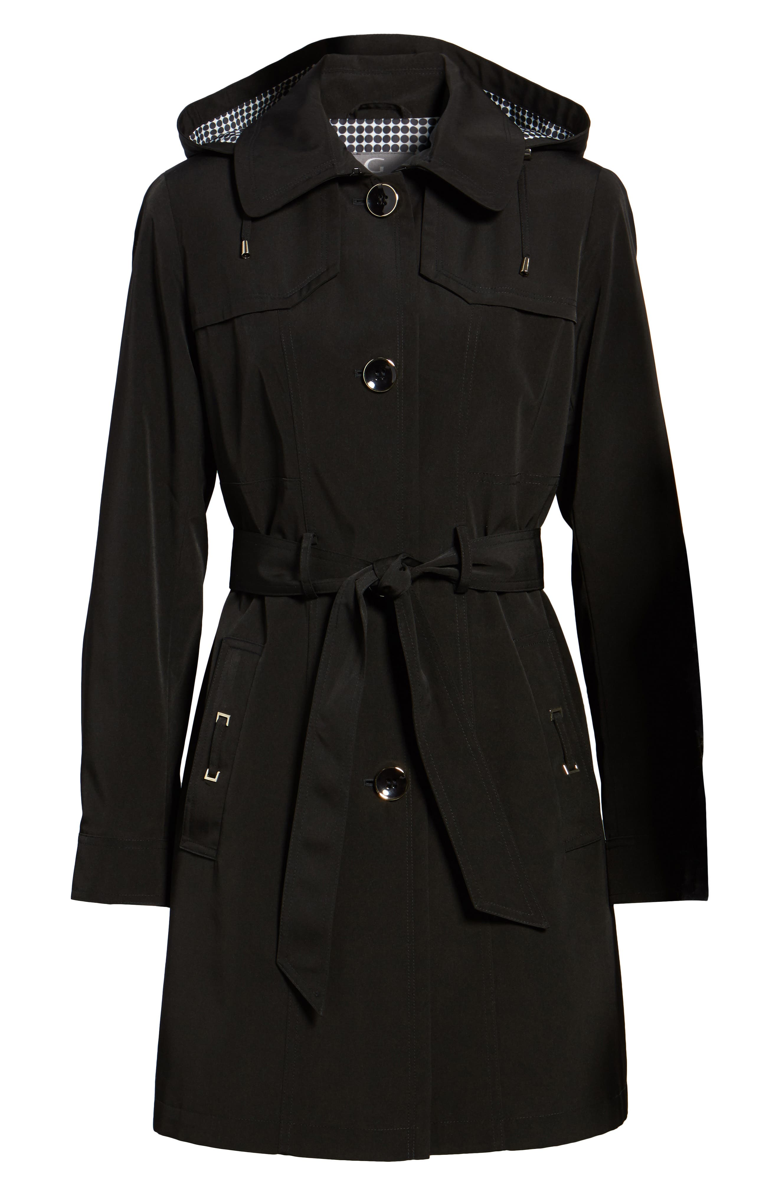 Belted Trench Raincoat,                             Alternate thumbnail 5, color,                             001