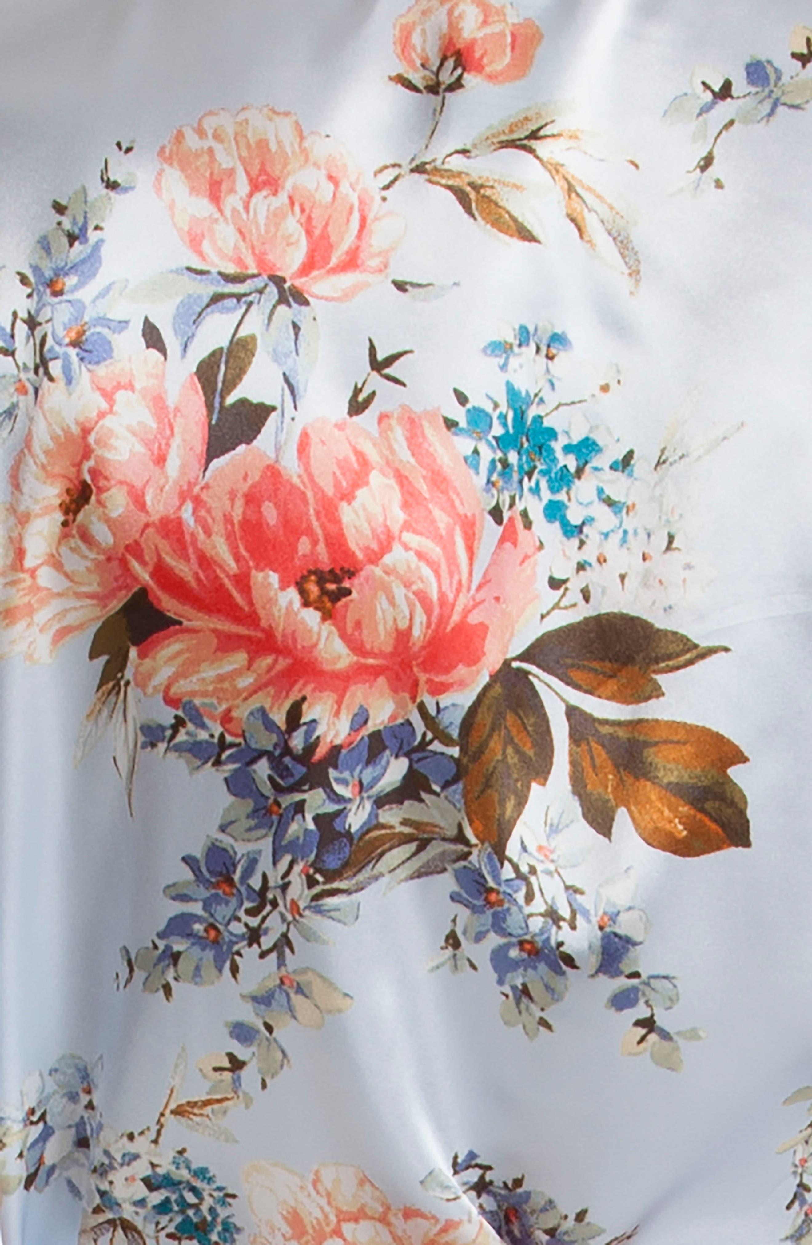 Floral Print Satin Robe,                             Alternate thumbnail 4, color,                             400