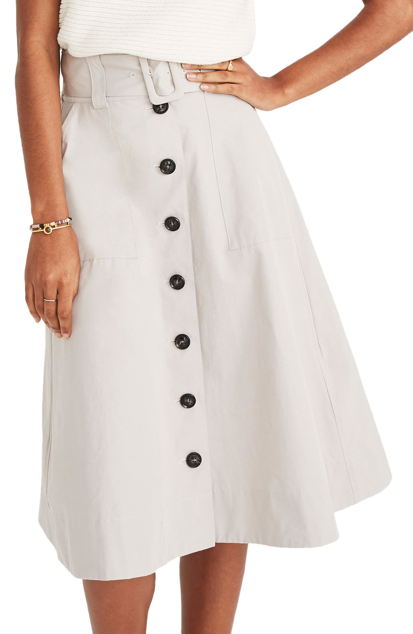 Trench Circle Skirt,                         Main,                         color, WEATHERED CONCRETE