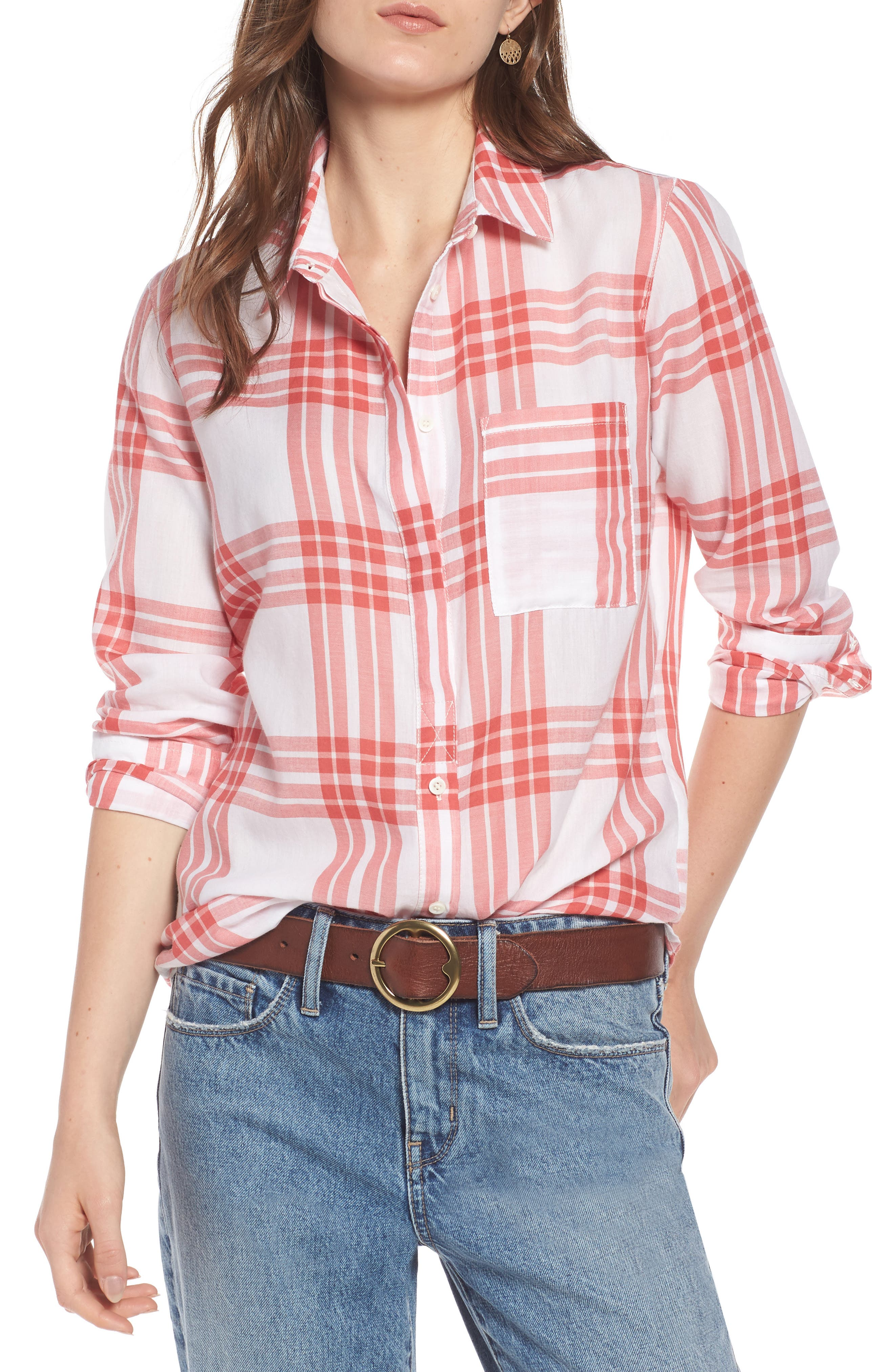 Classic Drapey Shirt,                             Main thumbnail 1, color,                             WHITE RED MINERAL REAR WINDOW
