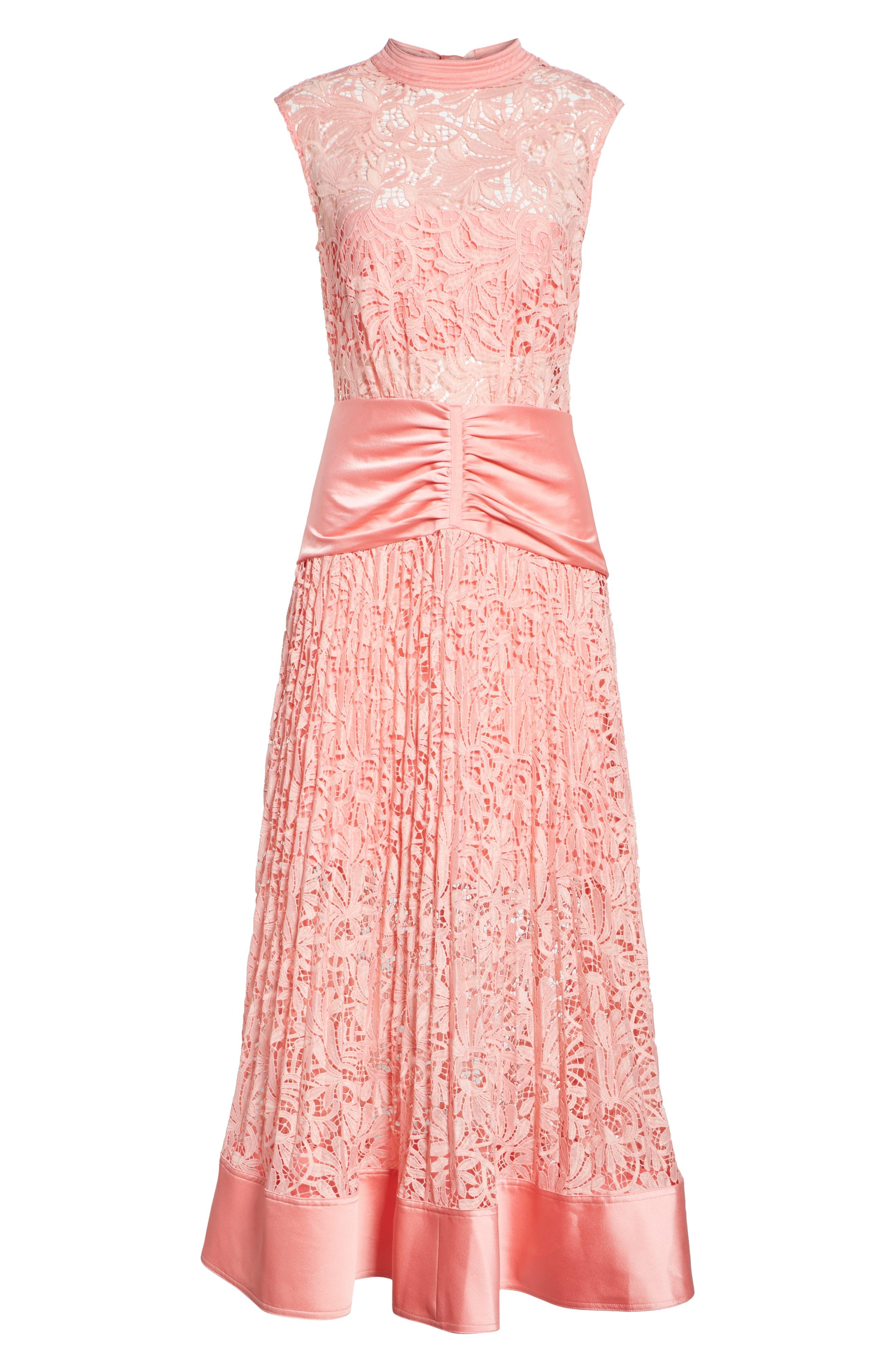 Floral Lace Sleeveless Midi Dress,                             Alternate thumbnail 7, color,                             650