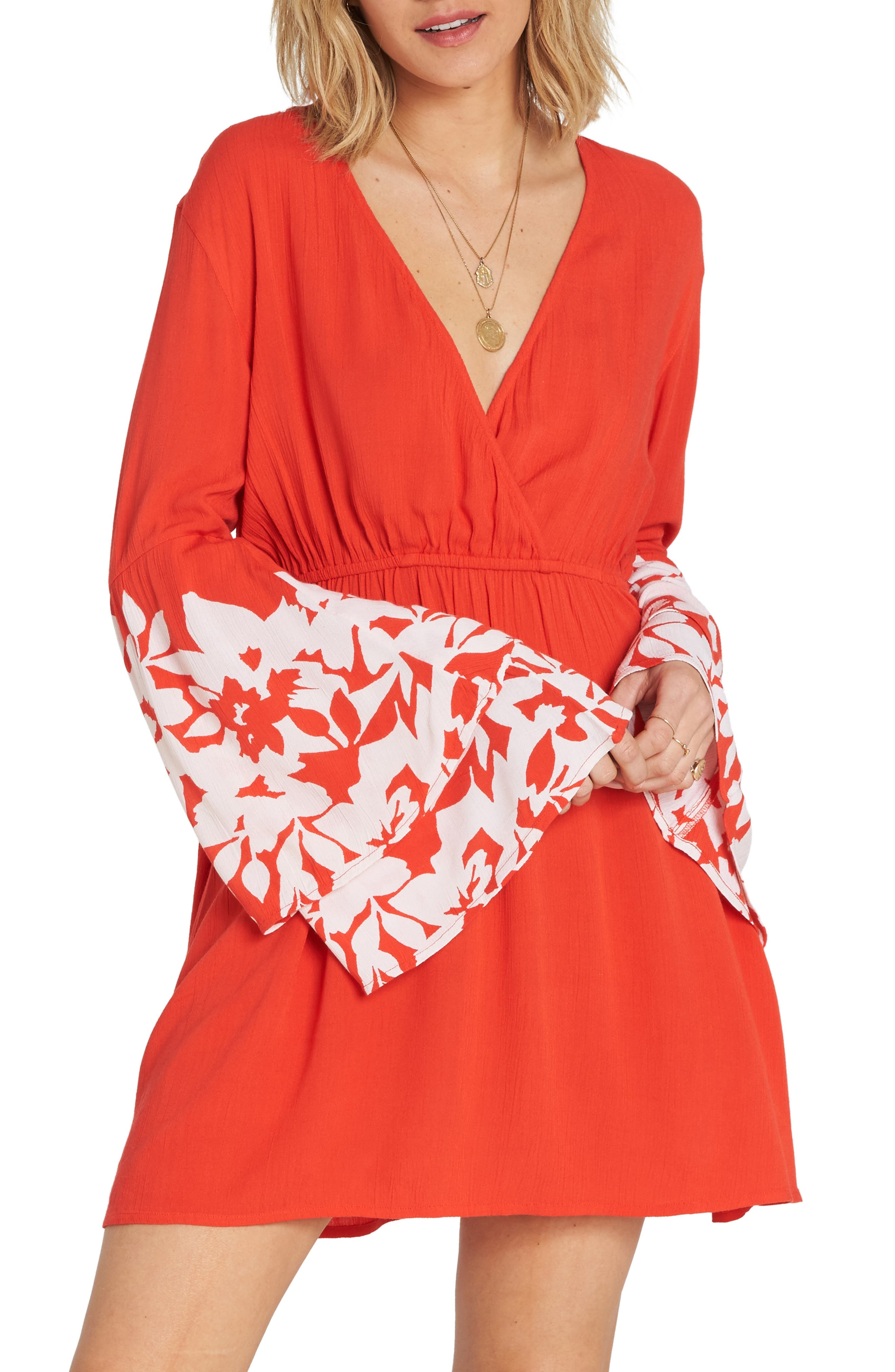 Billabong Night Fever Bell Sleeve Dress, Red