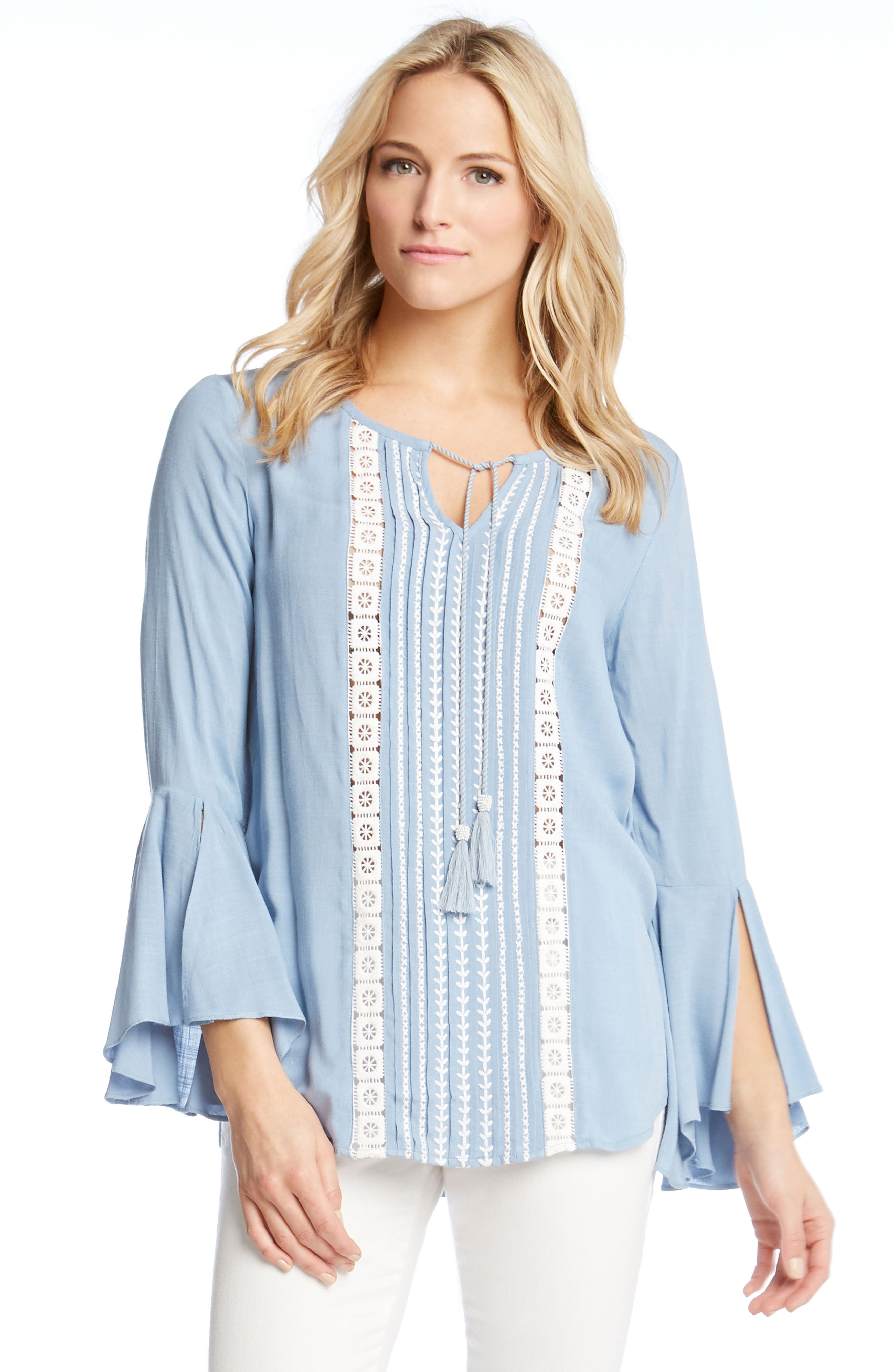 Embroidered Split Sleeve Top,                             Alternate thumbnail 3, color,                             451