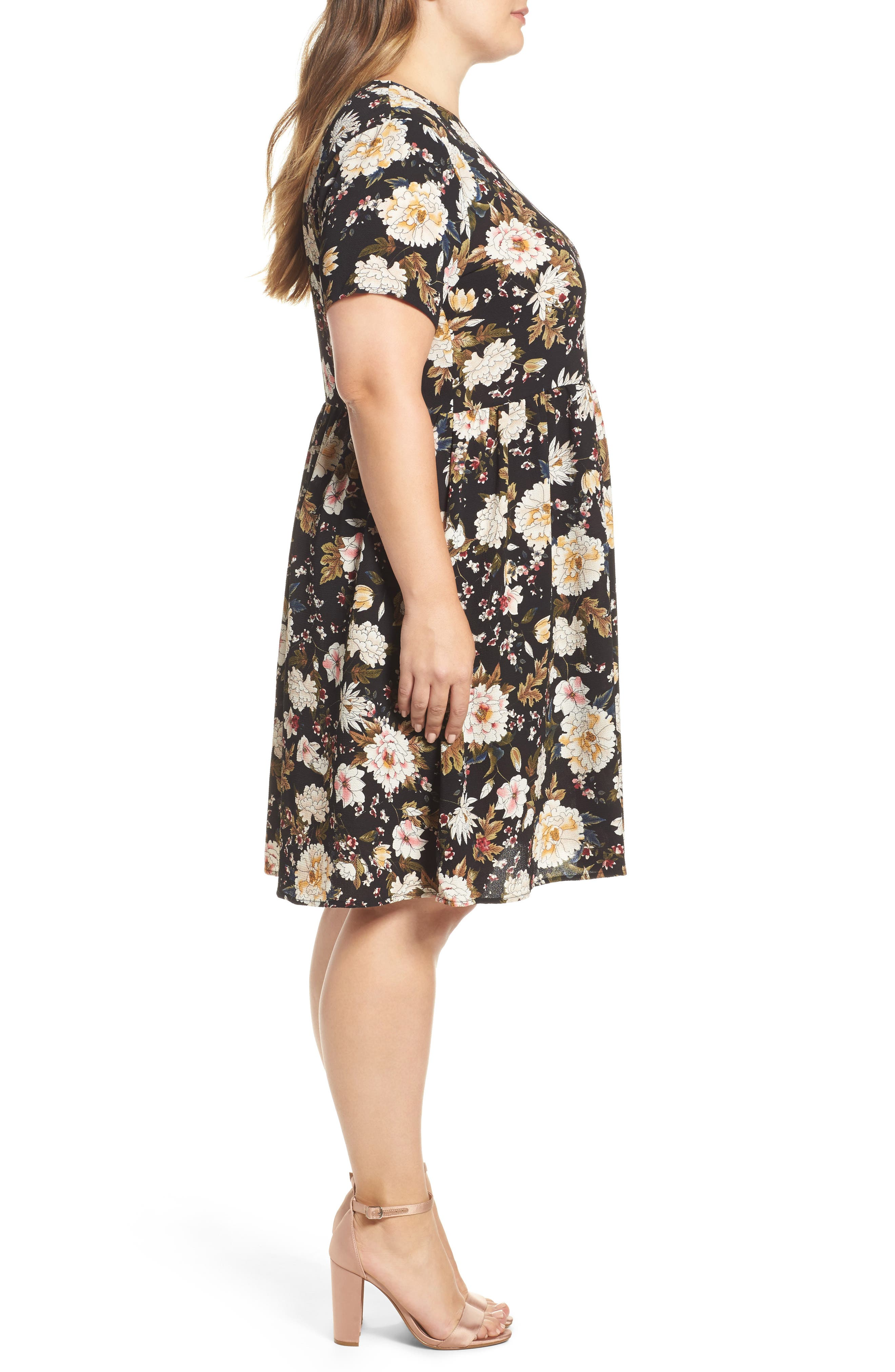 Empire Waist Floral Print Dress,                             Alternate thumbnail 3, color,                             009