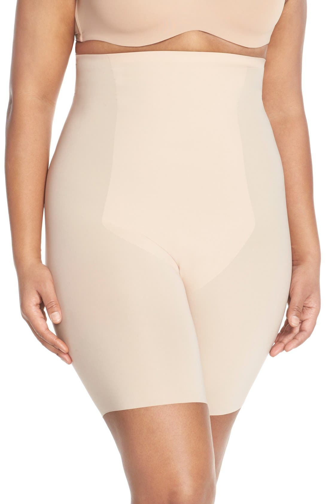 Thinstincts<sup>™</sup> High Waist Mid-Thigh Shorts,                             Main thumbnail 1, color,                             SOFT NUDE