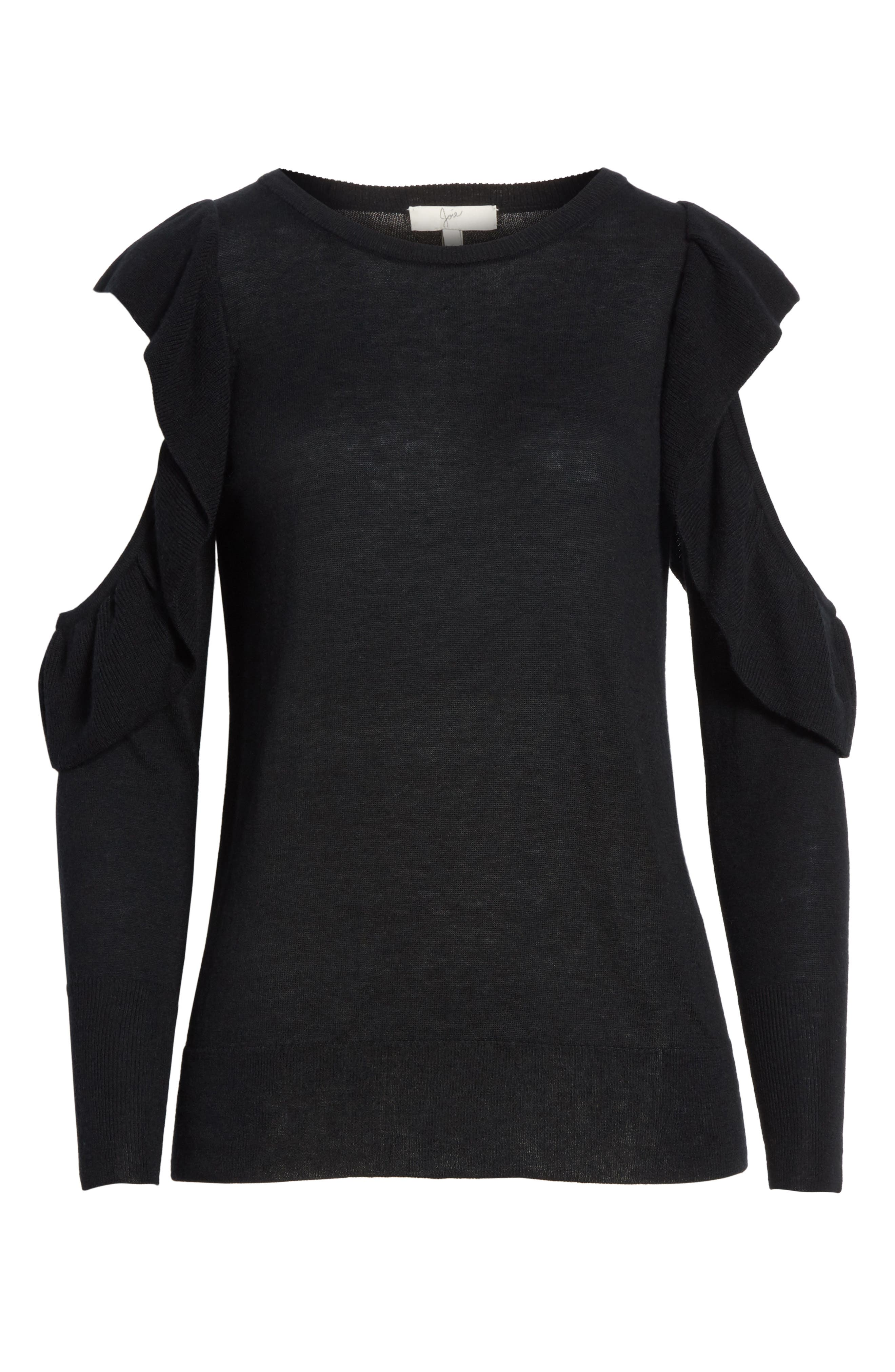Lucasta Ruffle Sweater,                             Alternate thumbnail 6, color,                             002