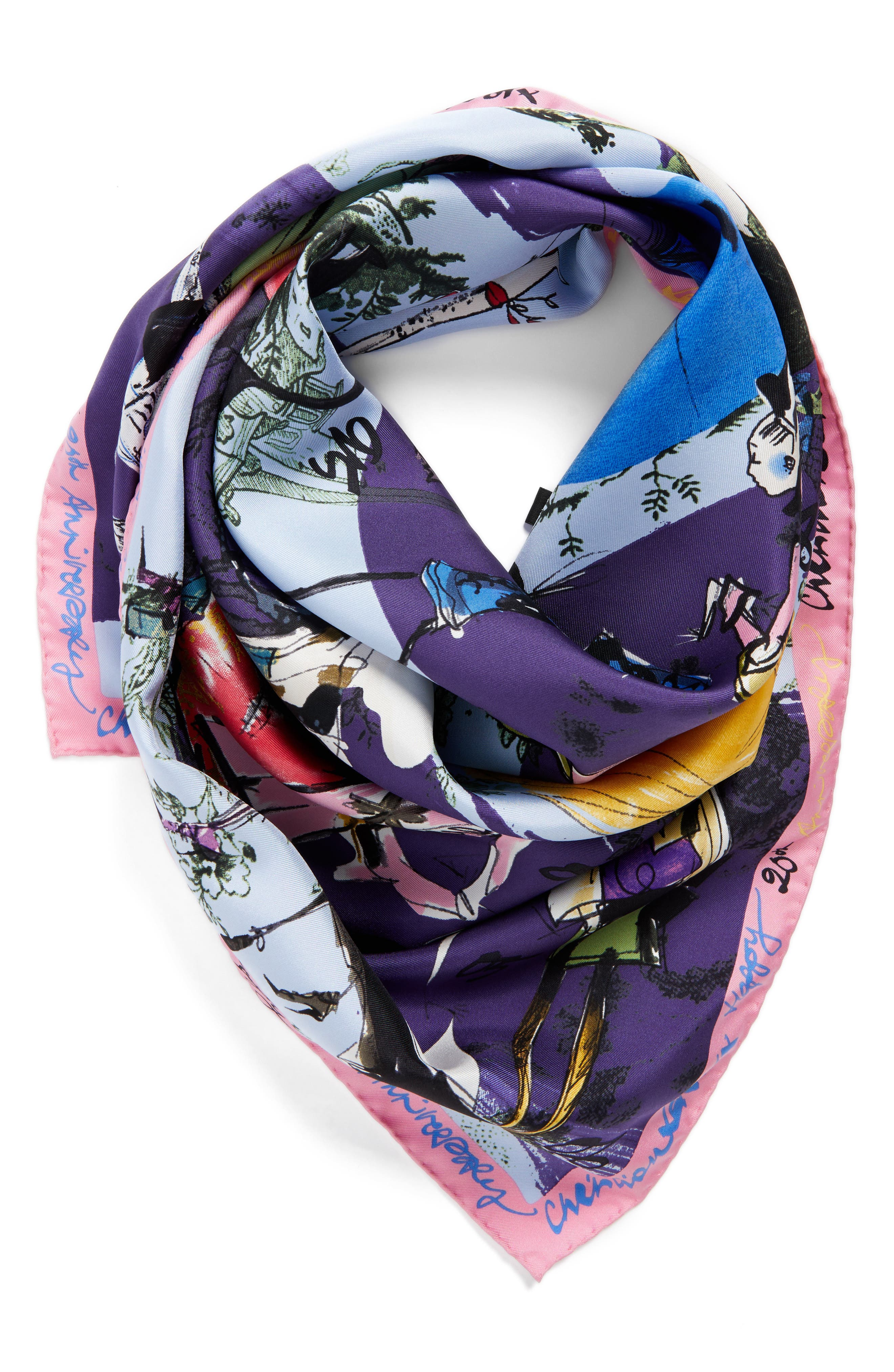'20 Ans' Square Silk Scarf,                             Alternate thumbnail 15, color,