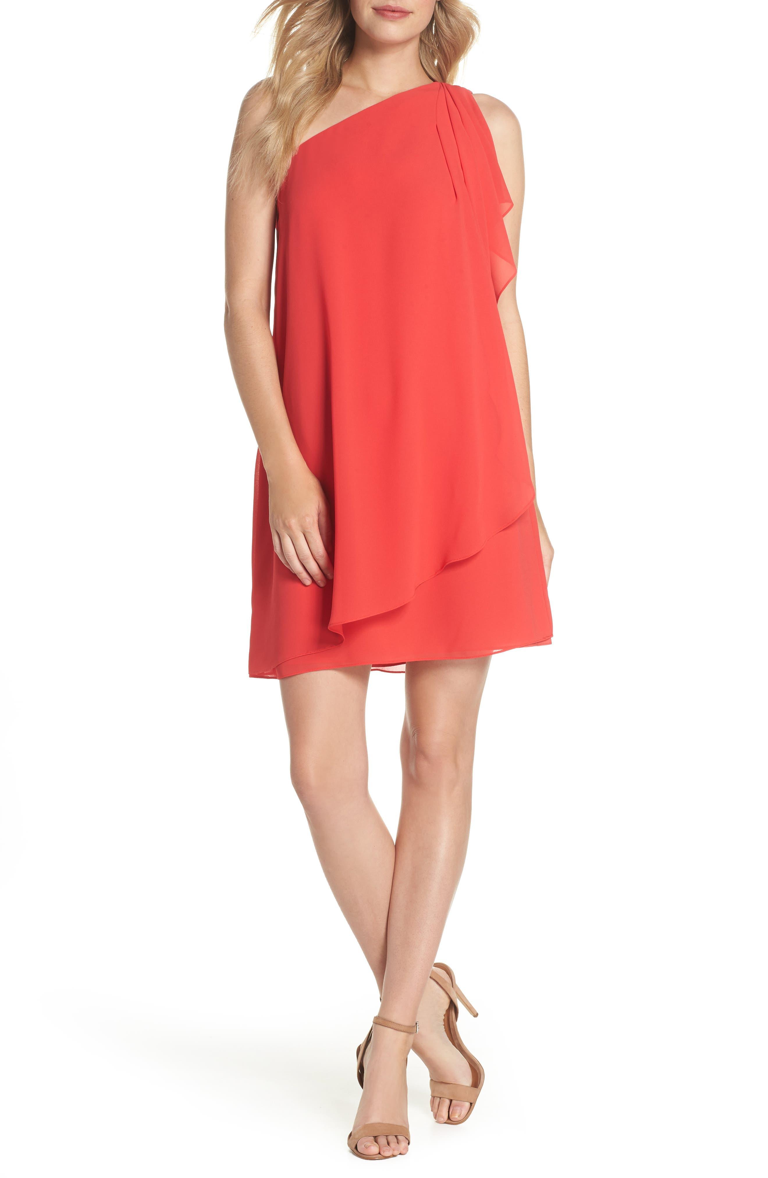 Soufflé One-Shoulder Chiffon Shift Dress,                         Main,                         color, 652