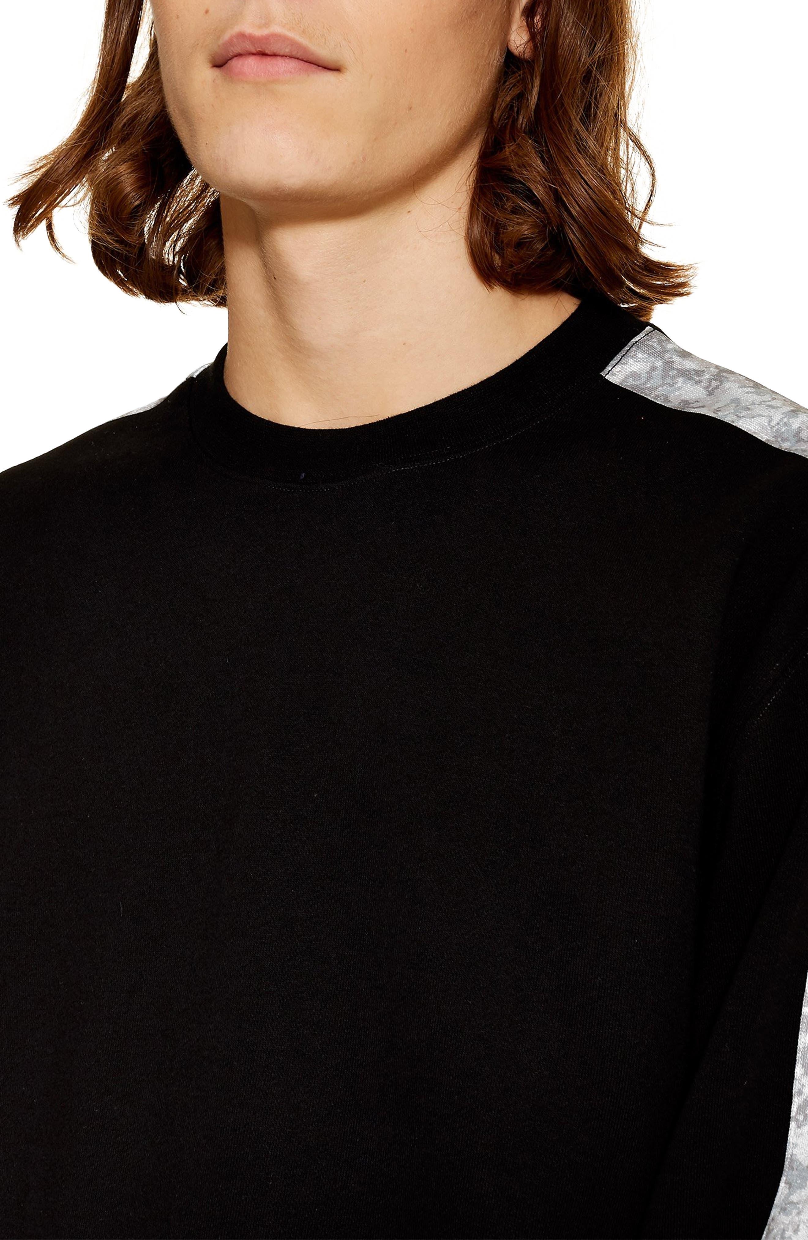 Sublimated Tape Crewneck Sweatshirt,                             Alternate thumbnail 3, color,                             BLACK MULTI