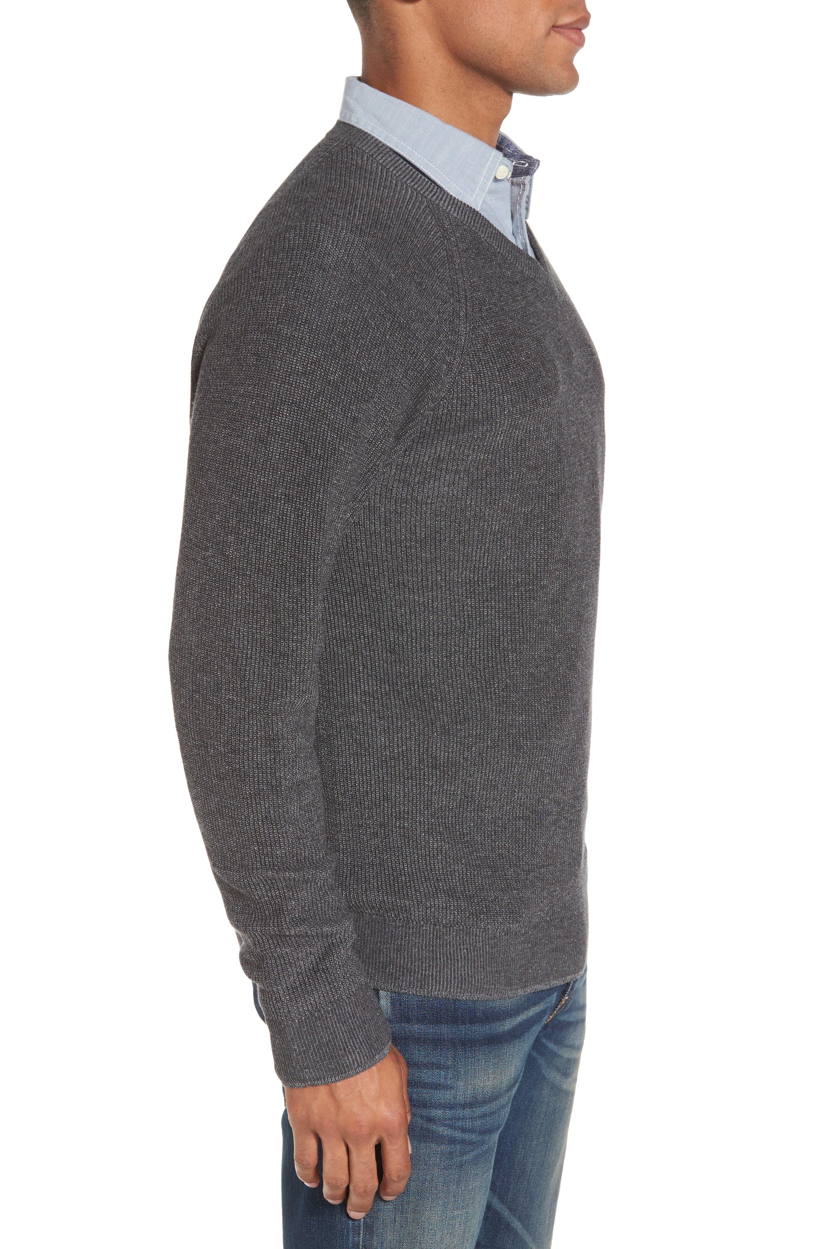 Supima<sup>®</sup> Cotton V-Neck Sweater,                             Alternate thumbnail 3, color,                             021