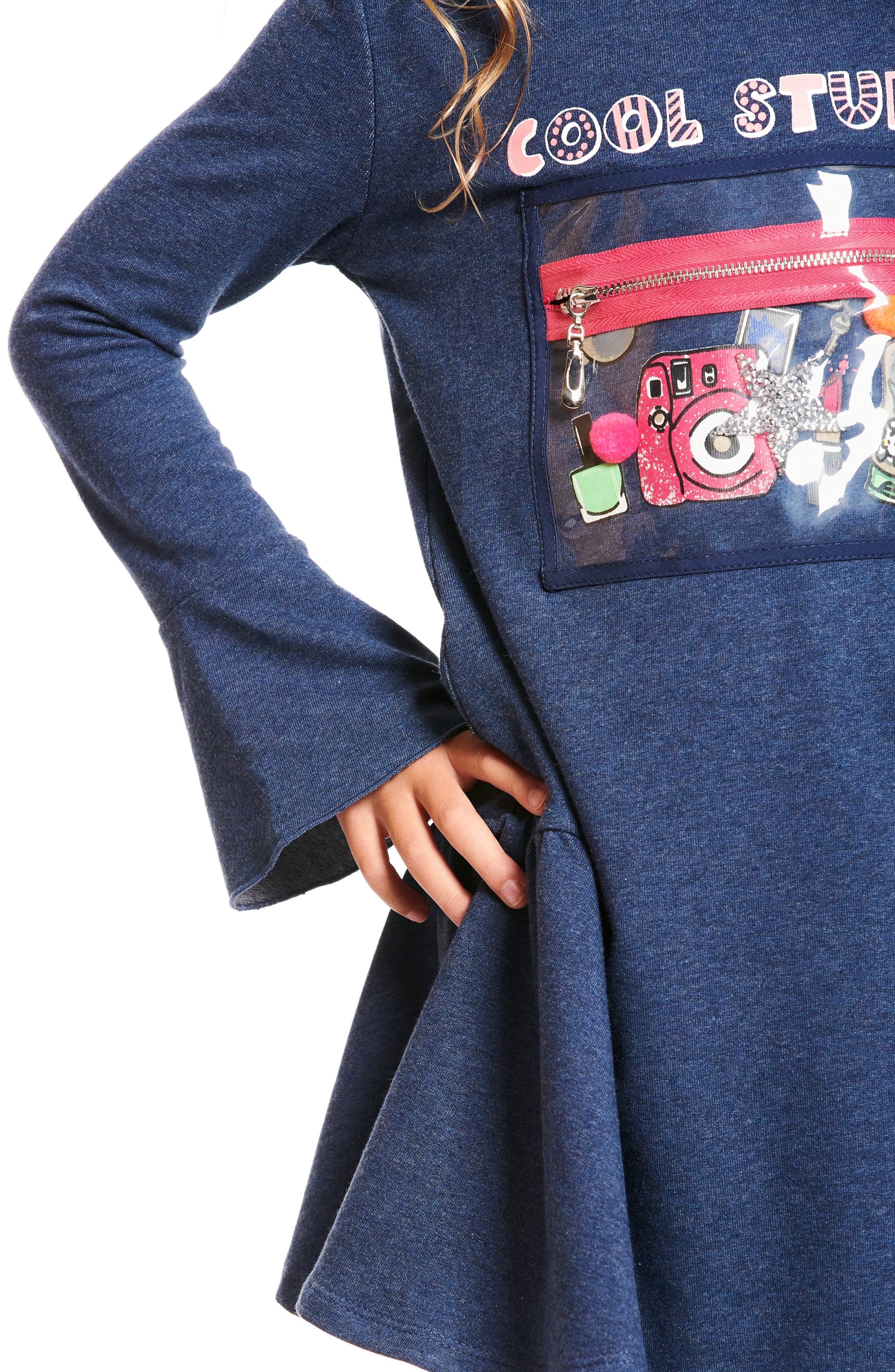 Cool Stuff Knit Dress with Zip Pouch,                             Alternate thumbnail 5, color,                             NAVY