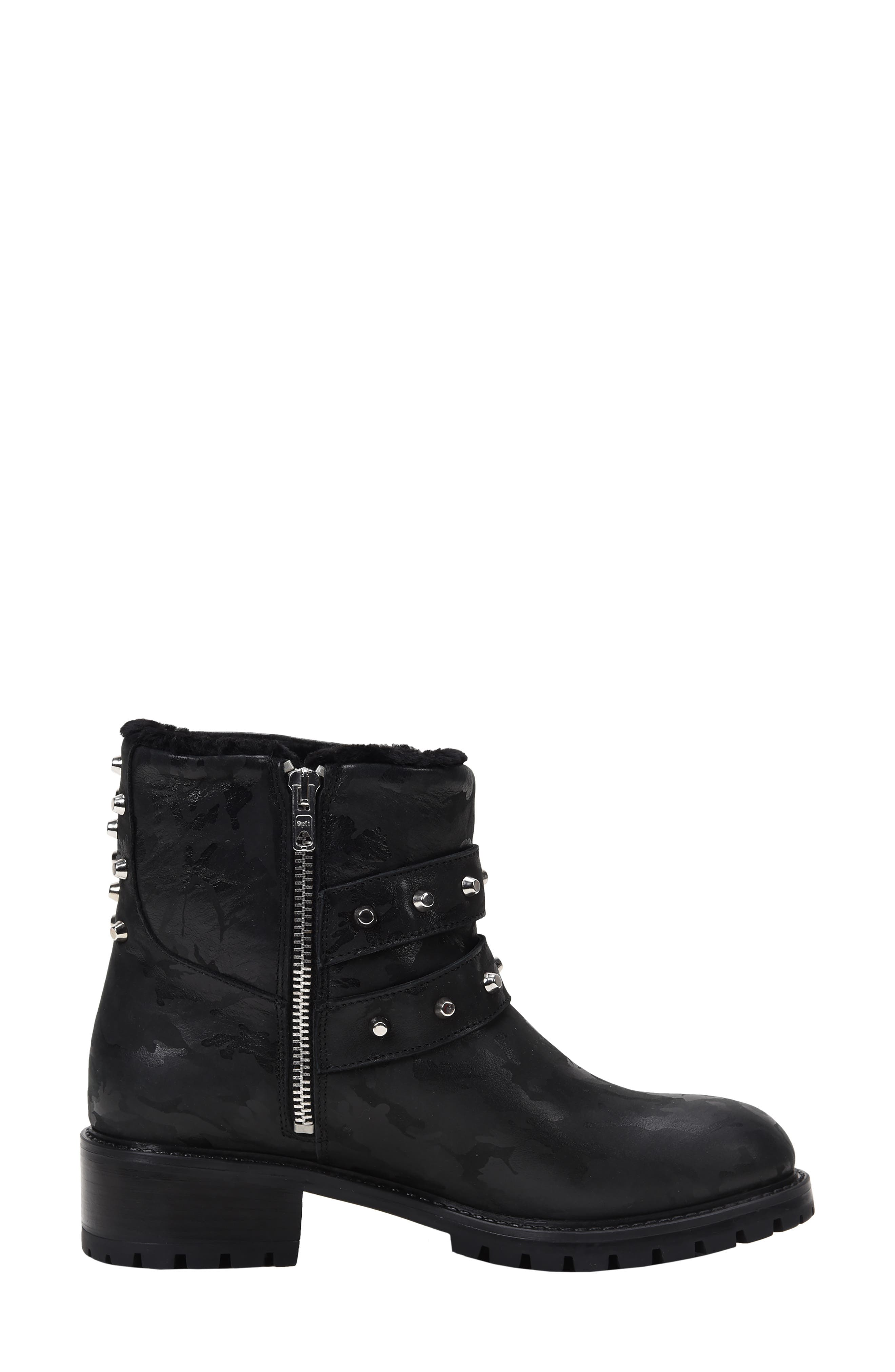 Stefana SP Genuine Shearling Lined Waterproof Bootie,                             Alternate thumbnail 7, color,                             BLACK CAMO LEATHER