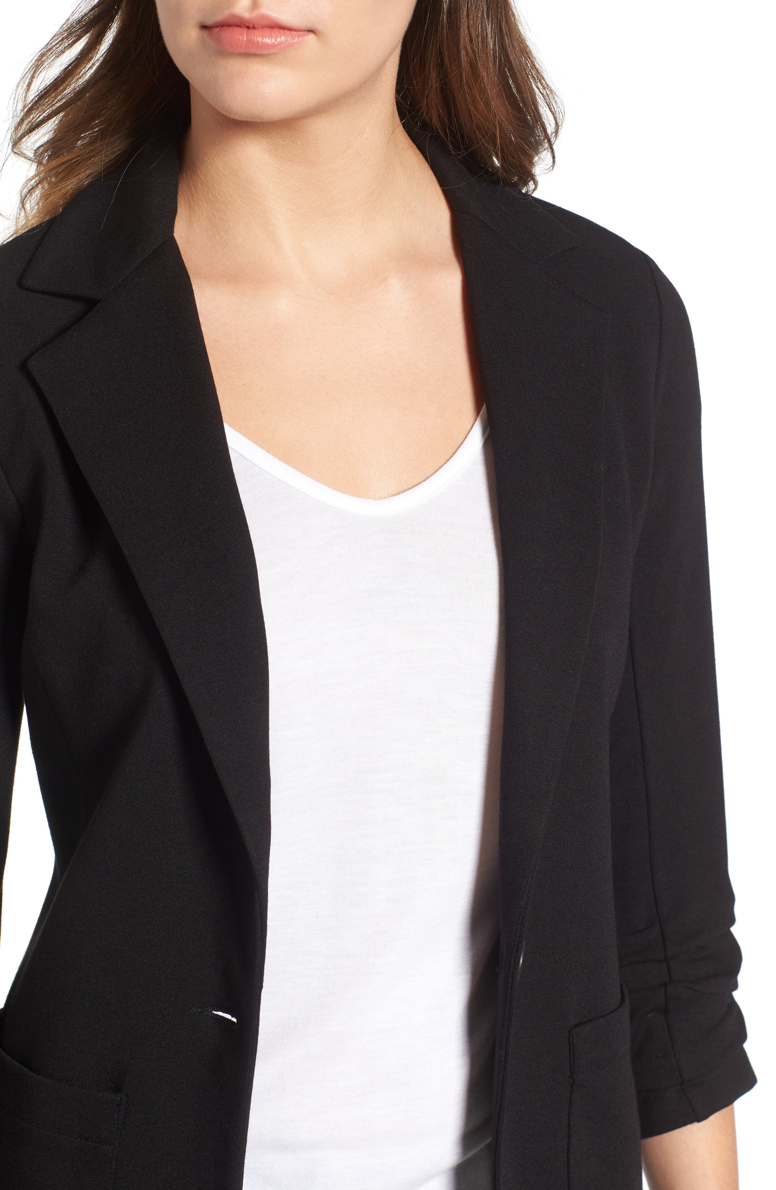 'Jane' Ruched Sleeve Knit Blazer,                             Alternate thumbnail 4, color,                             001
