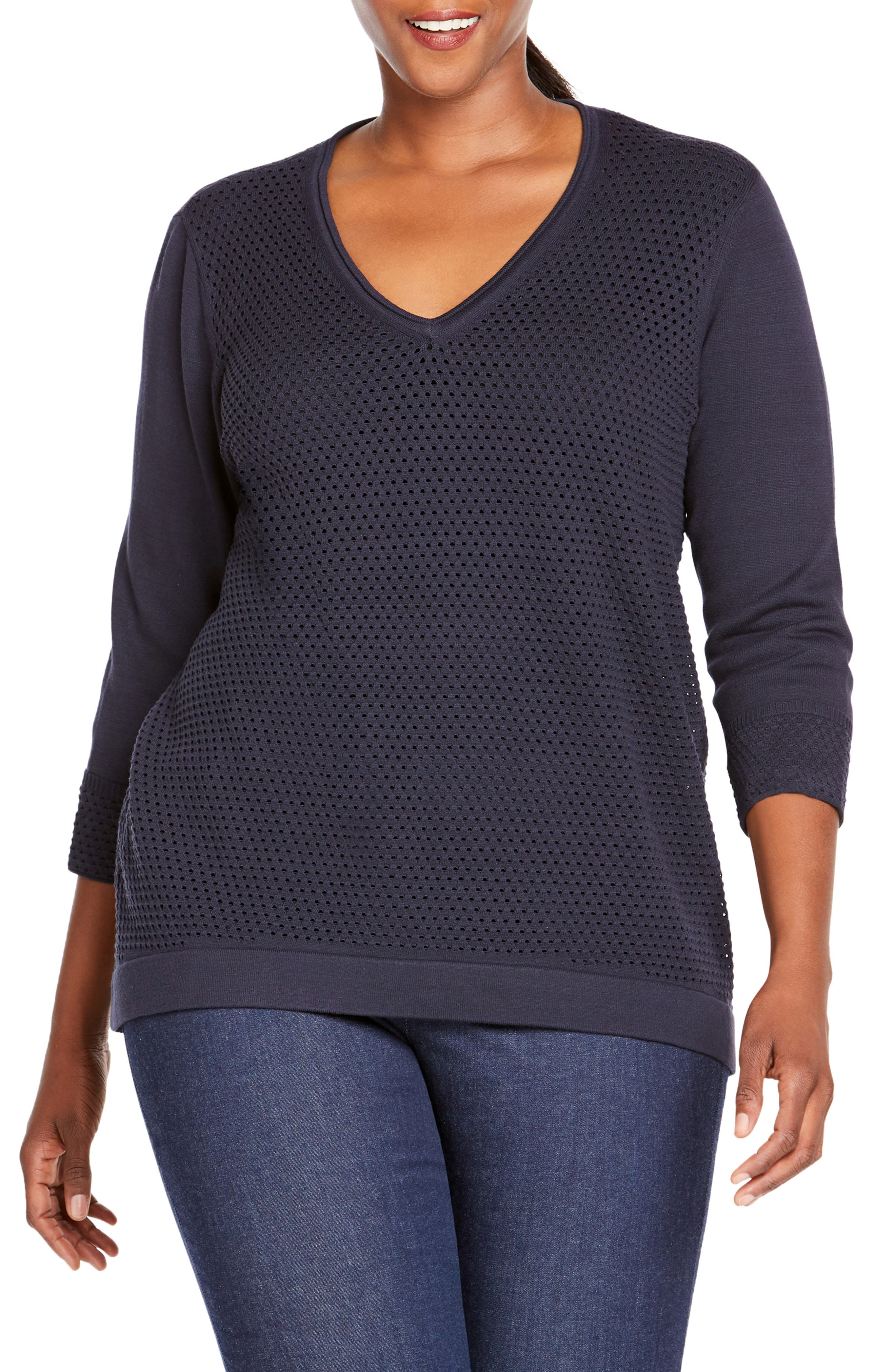 FOXCROFT Presley Perforated Stitch Sweater, Main, color, NAVY