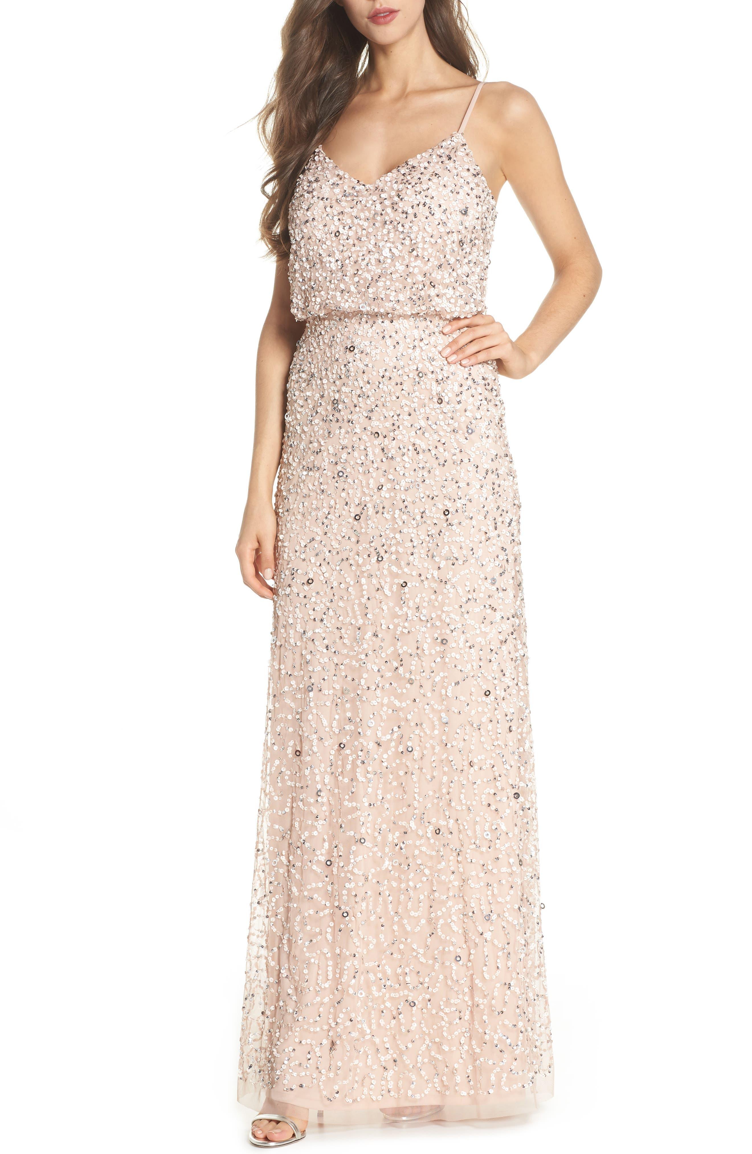 Sequin Blouson Gown,                         Main,                         color, BLUSH