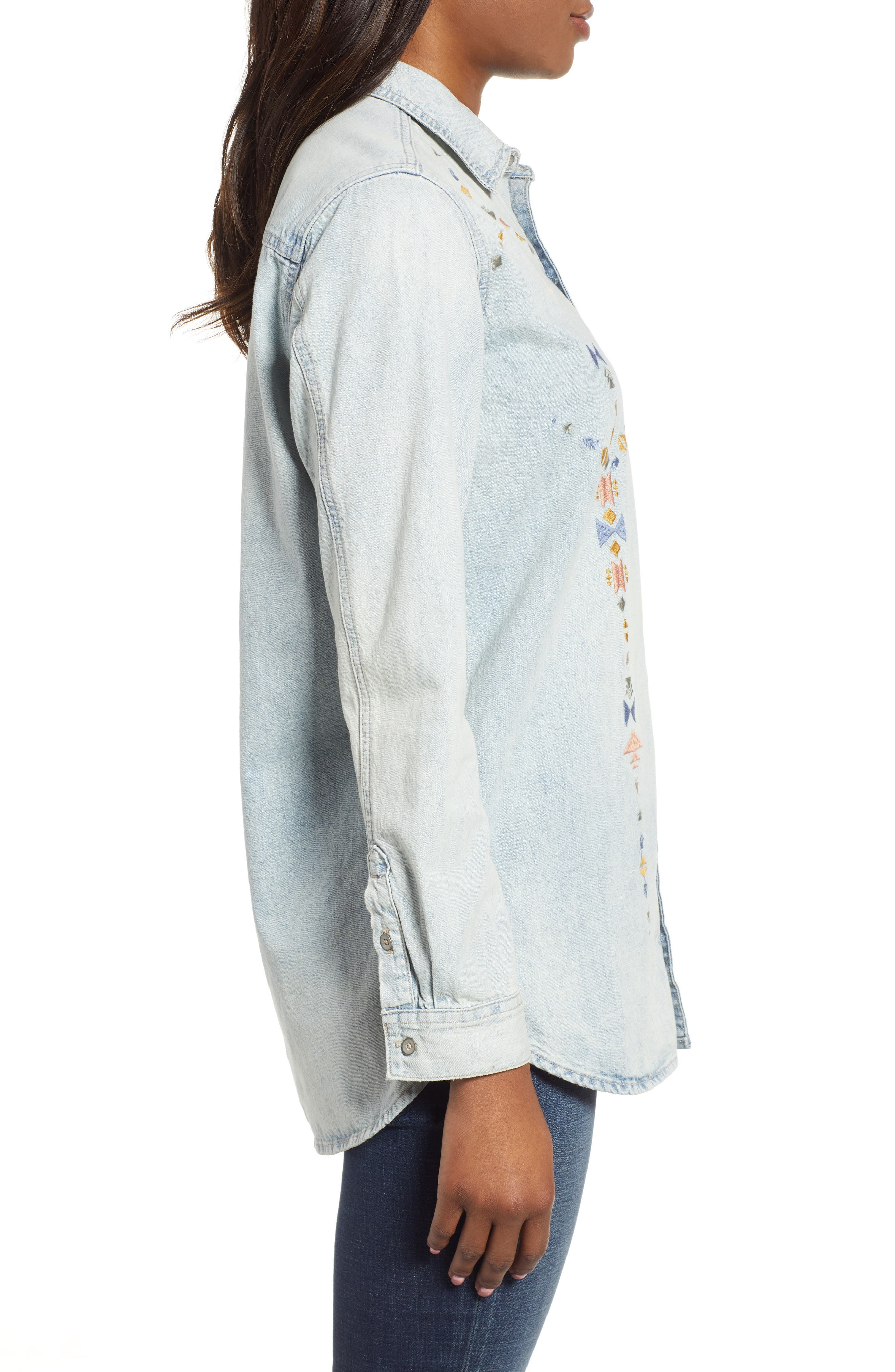 Embroidered Boyfriend Shirt,                             Alternate thumbnail 3, color,                             SADDLE HILL