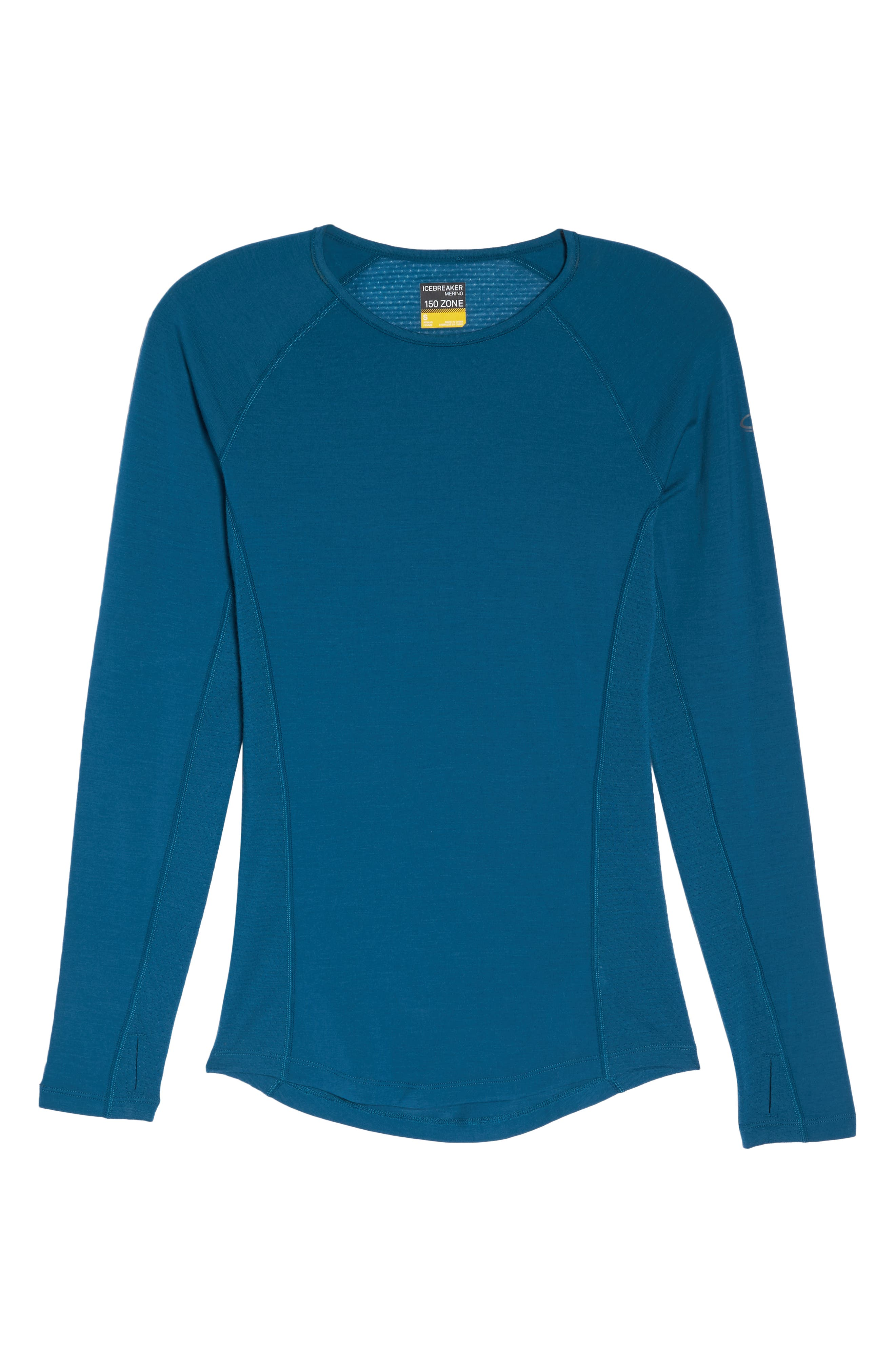 BodyfitZONE<sup>™</sup> 150 Zone Merino Wool Blend Base Layer Tee,                             Alternate thumbnail 7, color,                             KING FISCHER/ ARCTIC TEAL
