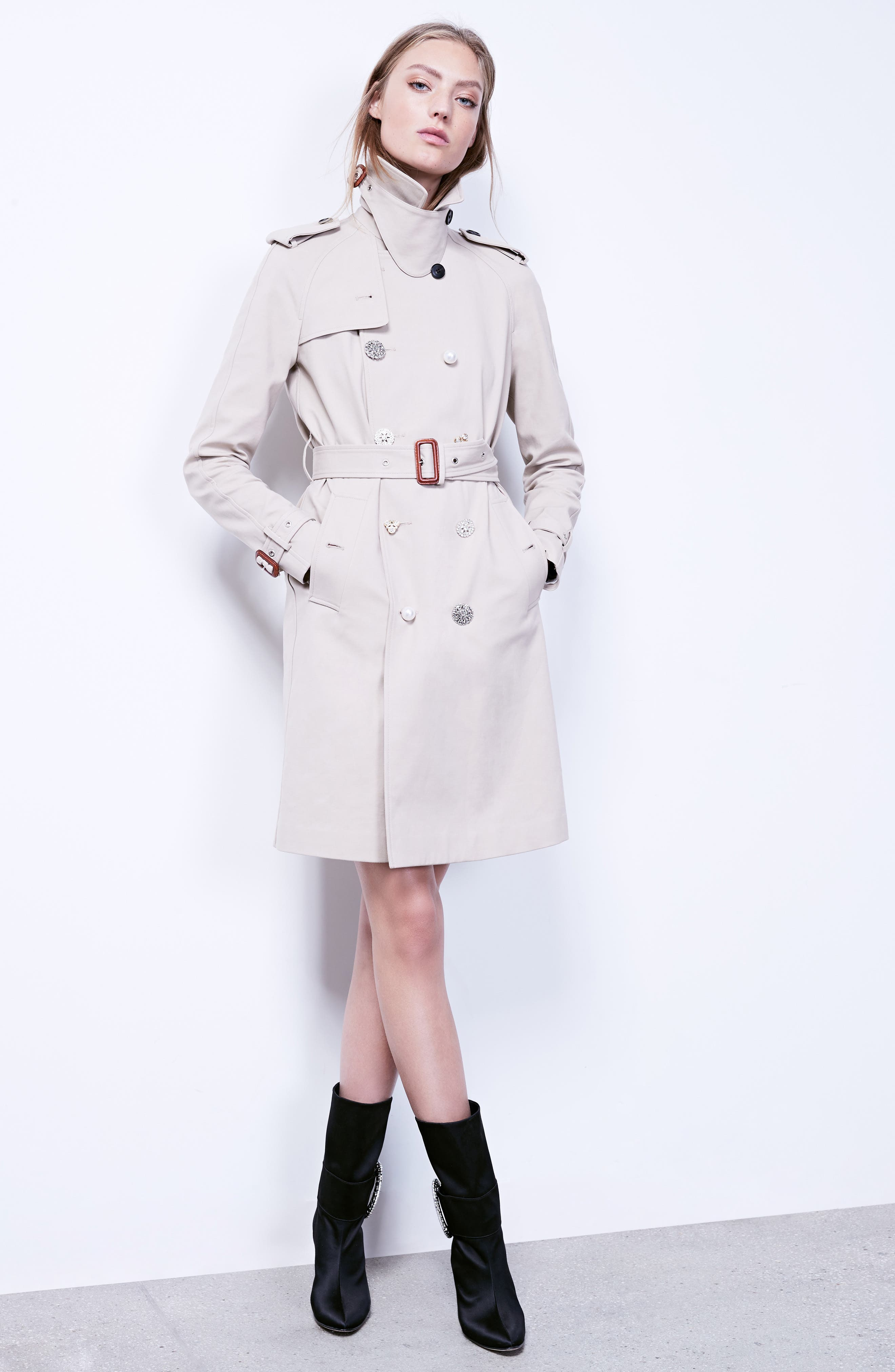 Embellished Button Trench Coat,                             Alternate thumbnail 9, color,                             250