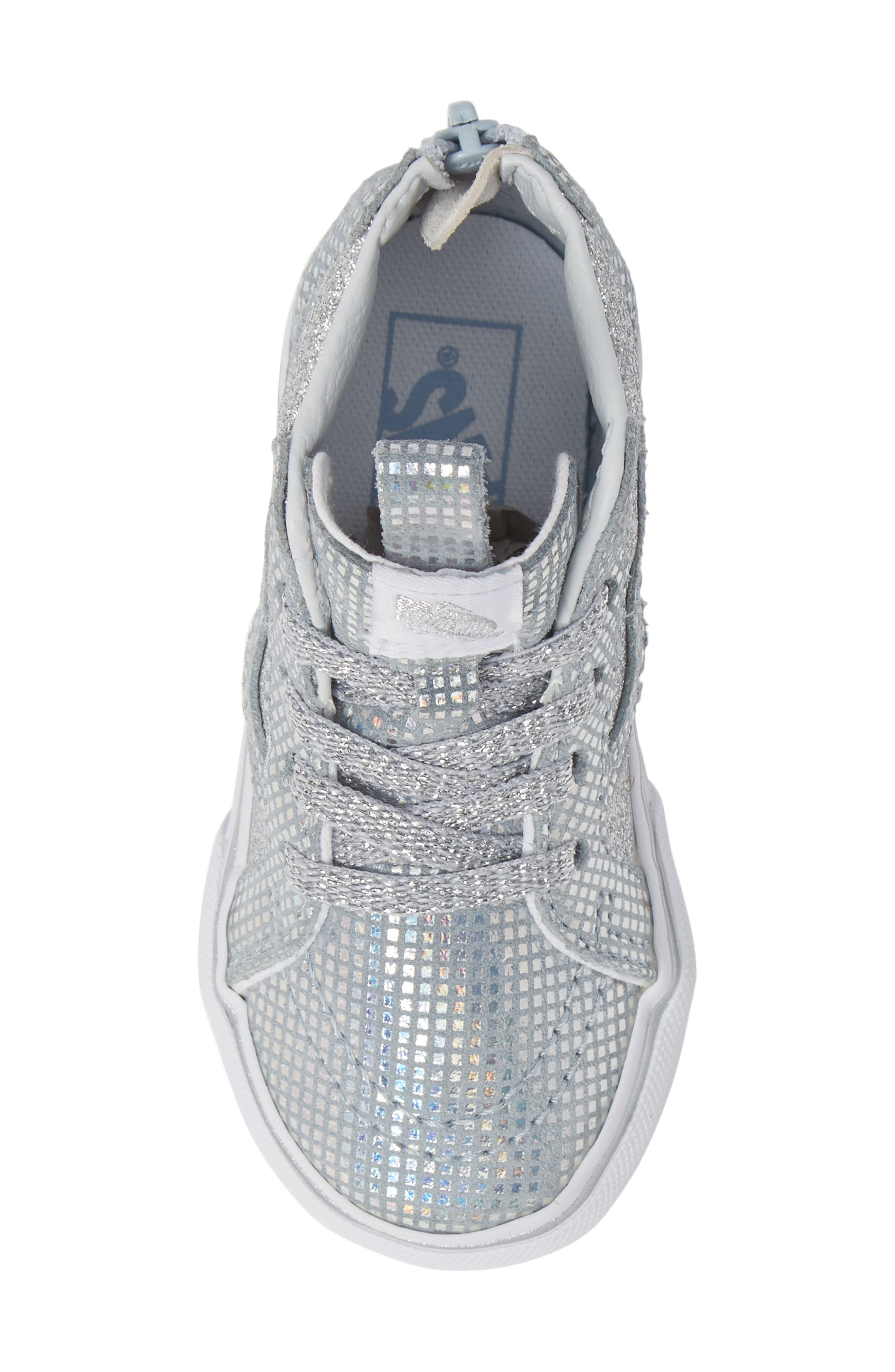 SK8-Hi Zip Sparkle Sneaker,                             Alternate thumbnail 5, color,                             METALLIC SILVER GLITTER