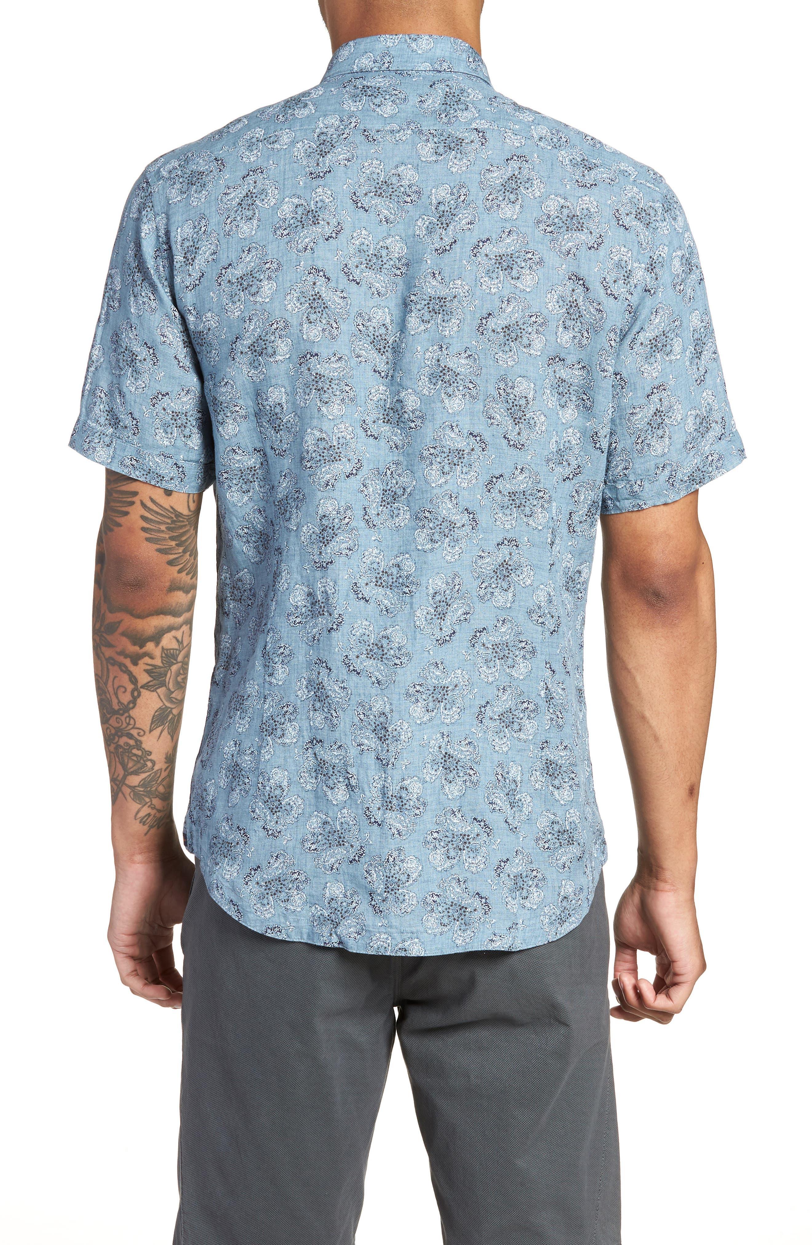 Tokyo Slim Fit Floral Short Sleeve Sport Shirt,                             Alternate thumbnail 2, color,                             INDIGO