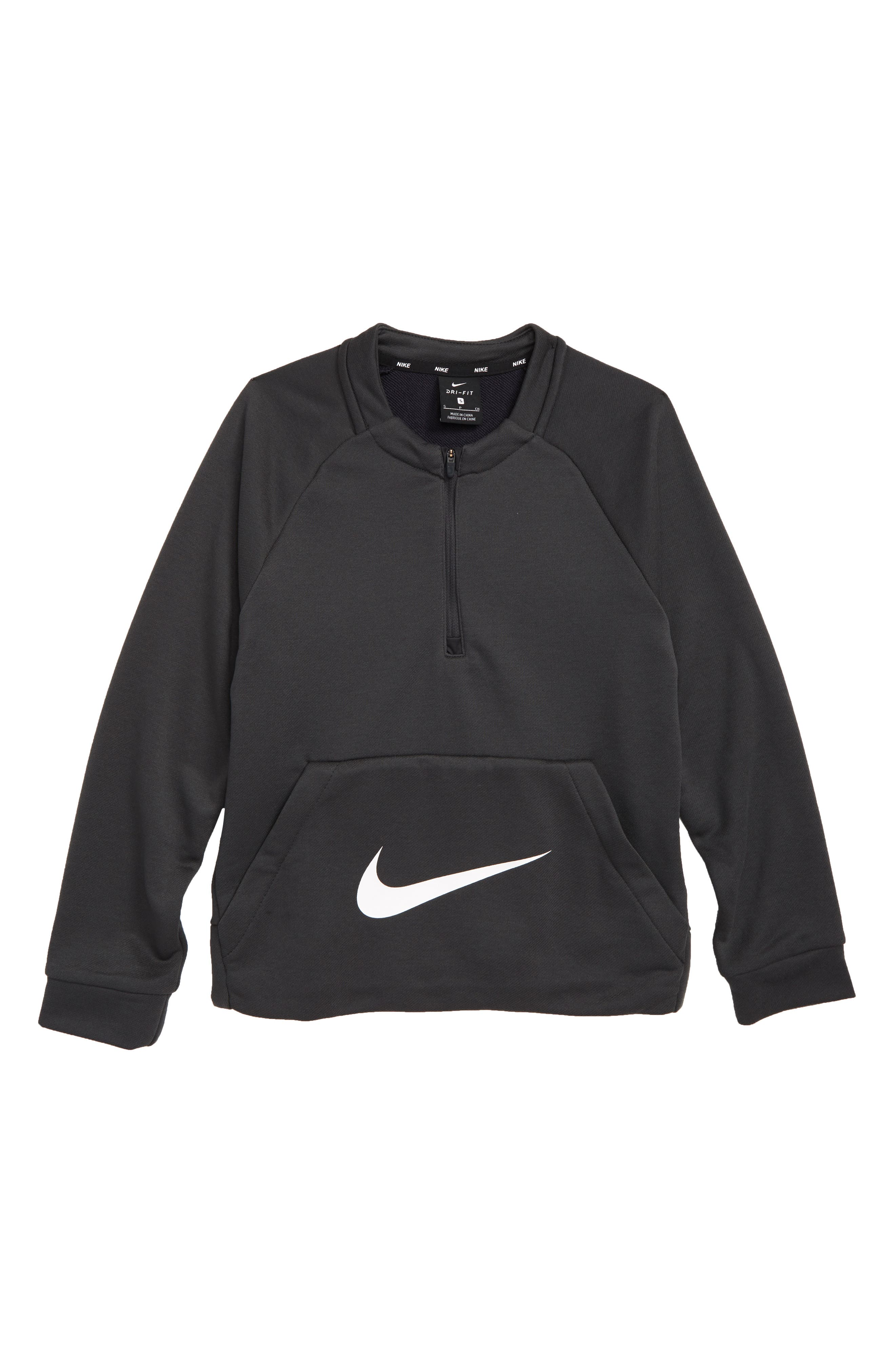 Dry Quarter Zip Pullover,                             Main thumbnail 1, color,                             ANTHRACITE/ WHITE