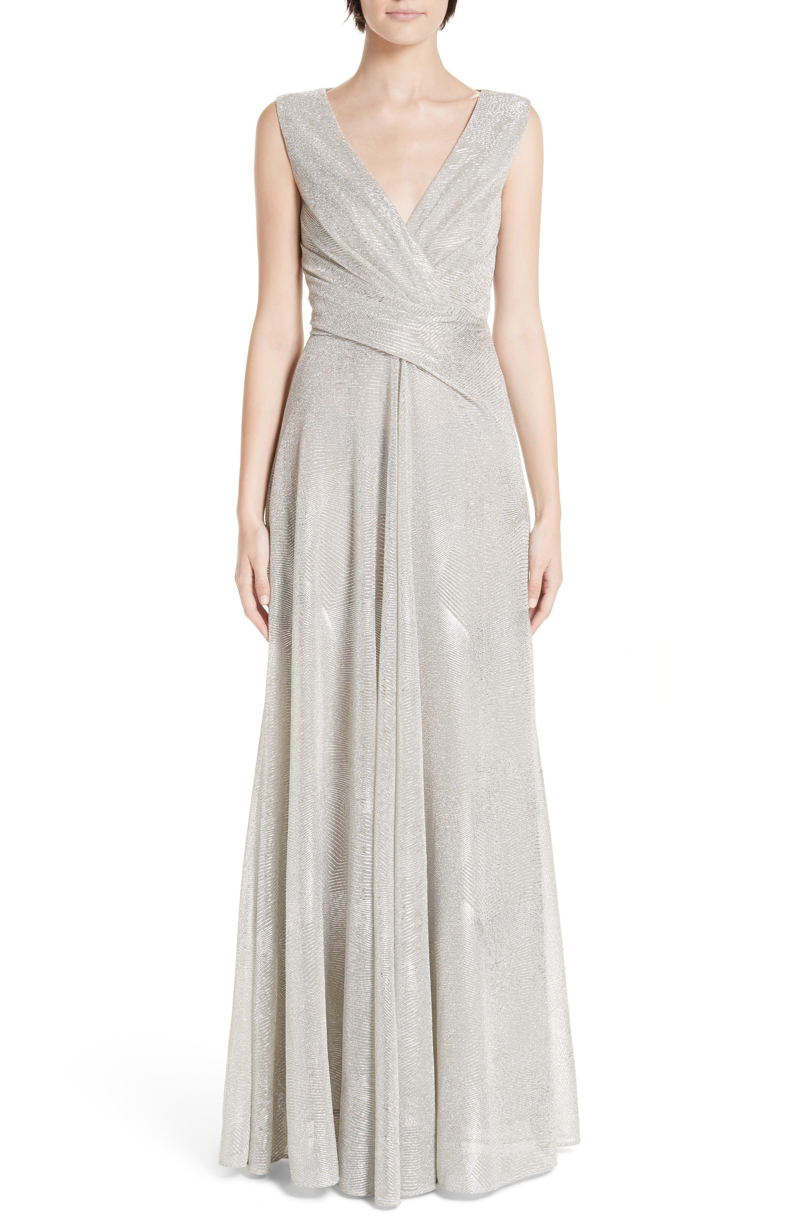 TALBOT RUNHOF V-Neck Sleeveless A-Line Metallic Evening Gown in Platinum