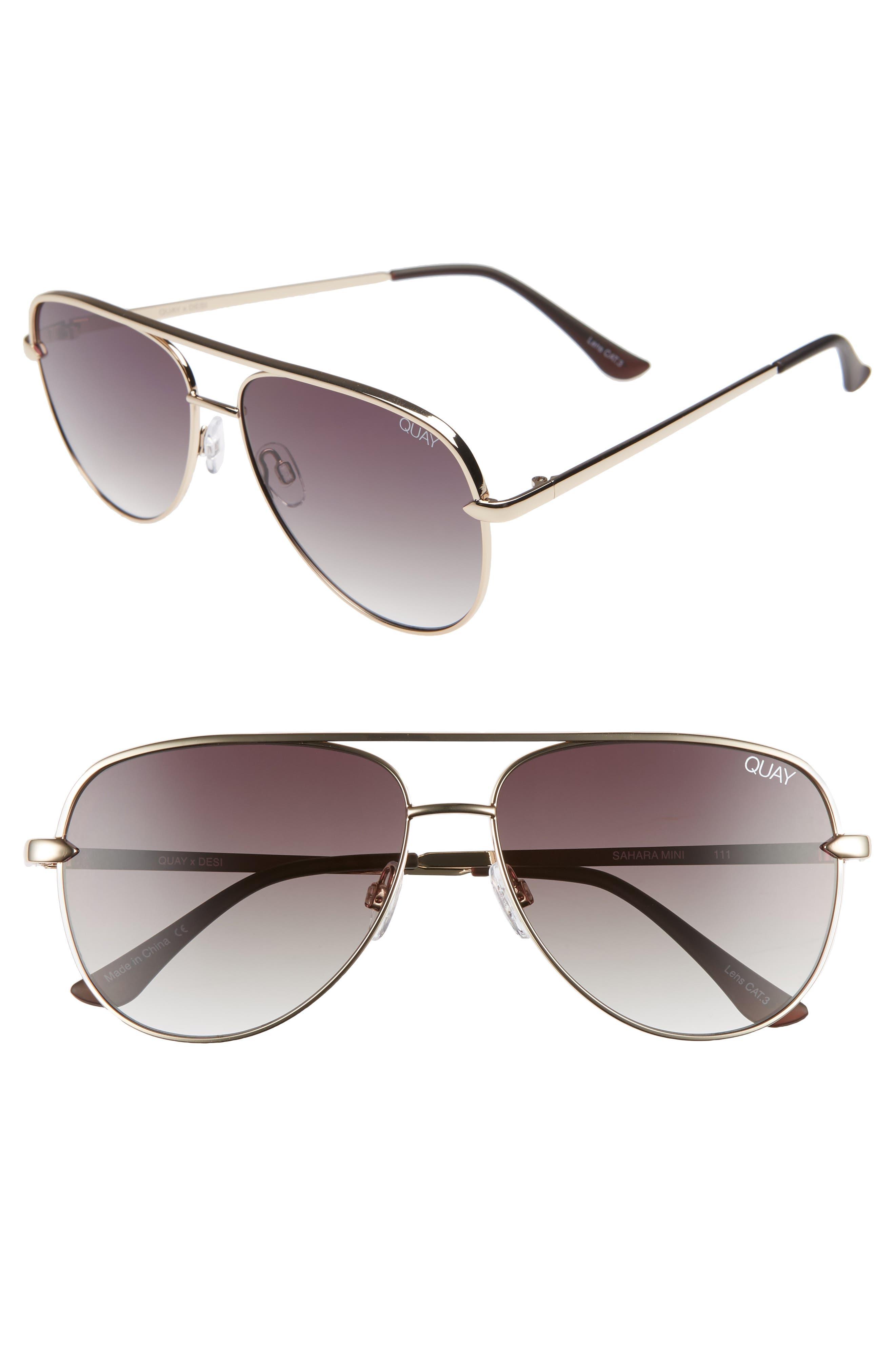 QUAY X Desi Perkins Sahara Mini 52Mm Aviator Sunglasses - Gold/ Smoke Taupe