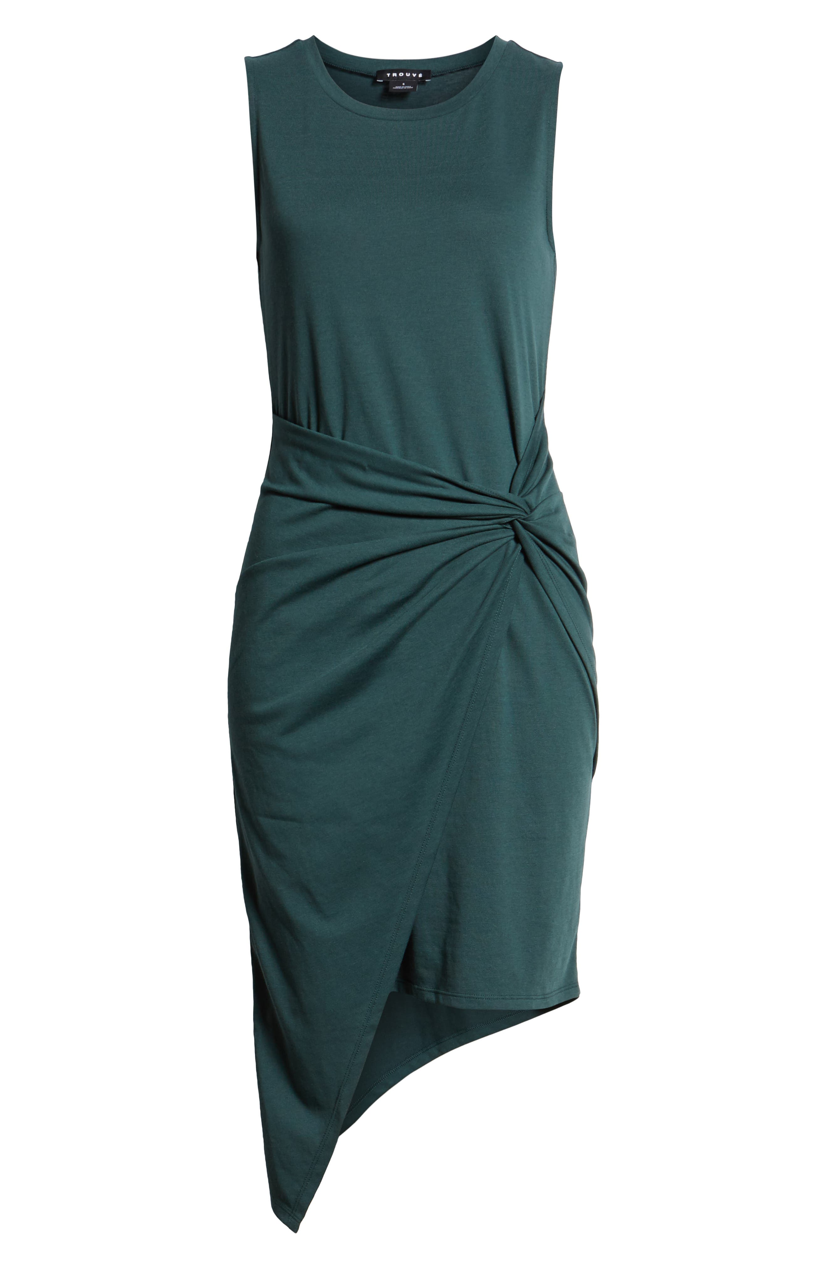 Twist Front Dress,                             Alternate thumbnail 7, color,                             GREEN GABLES