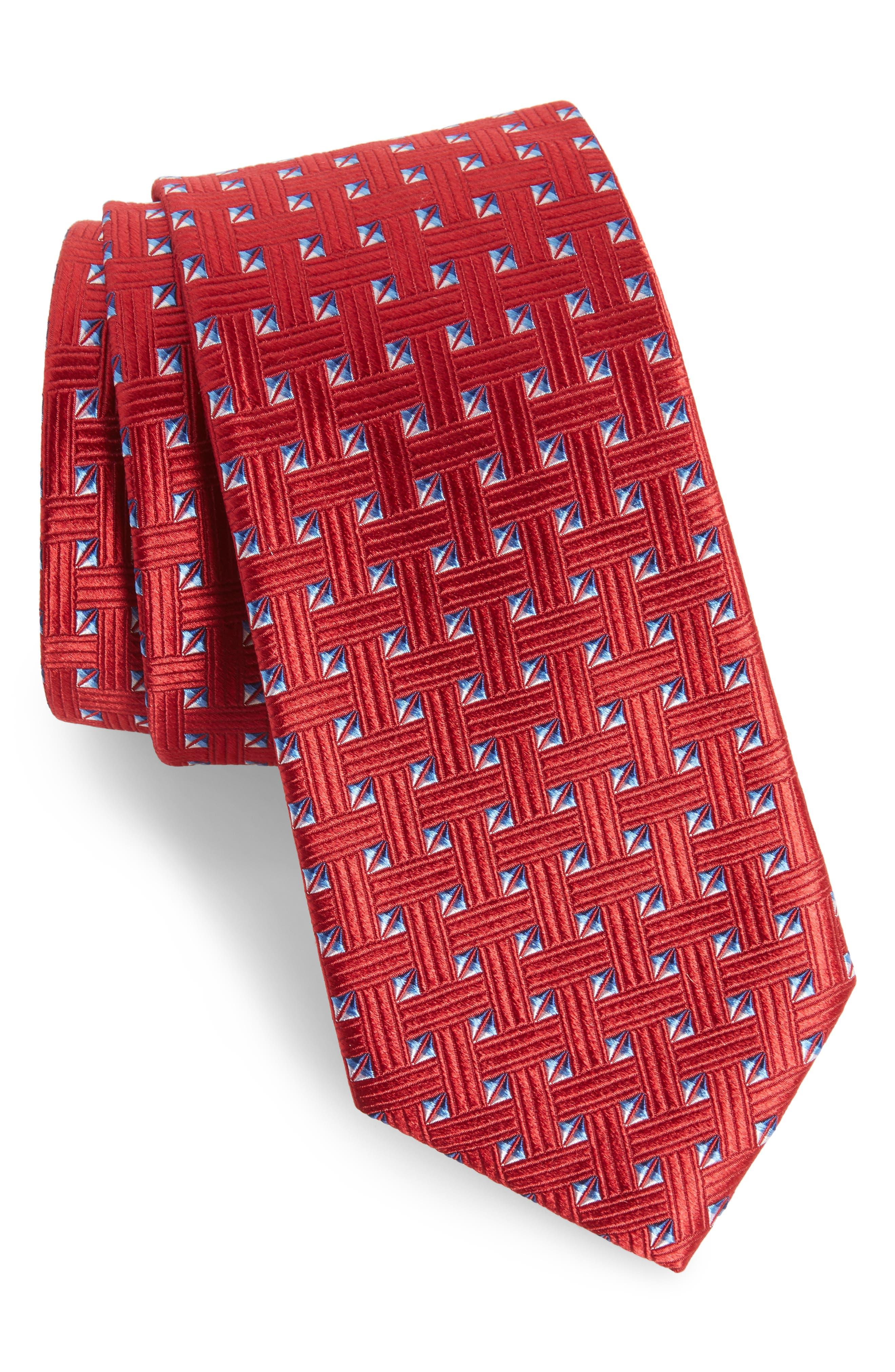 Geometric Silk Tie,                             Main thumbnail 4, color,