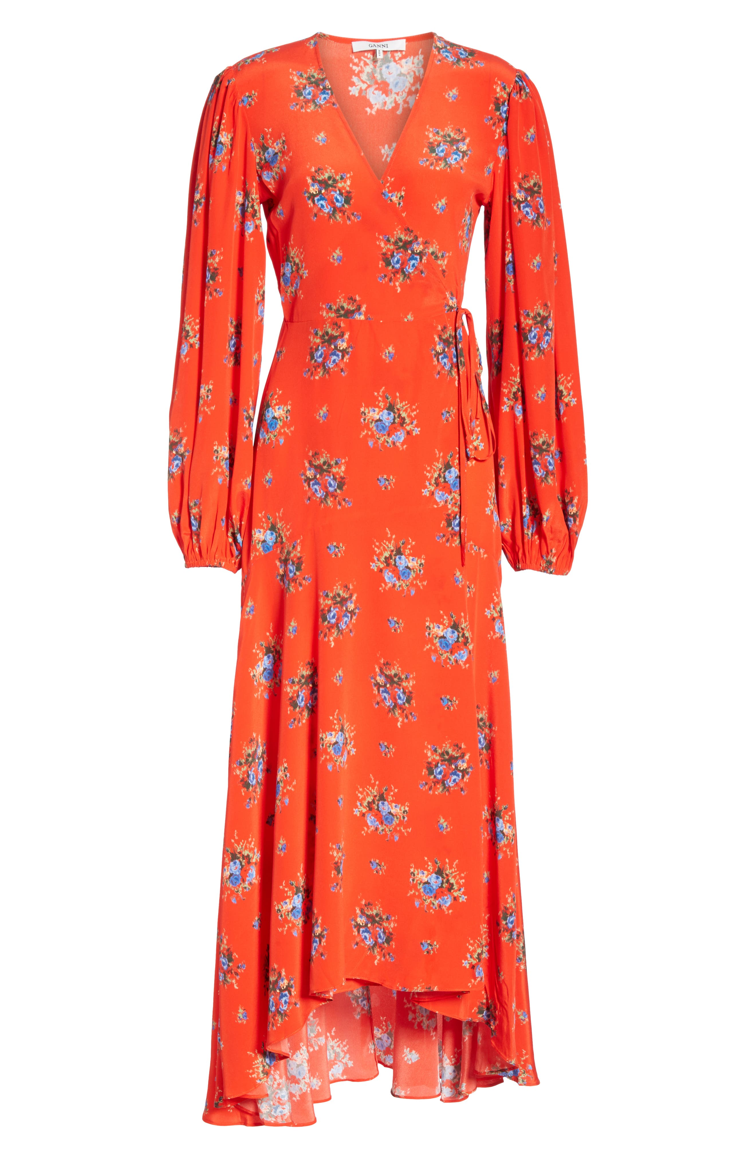 Floral Silk Wrap Dress,                             Alternate thumbnail 6, color,                             FIERY RED