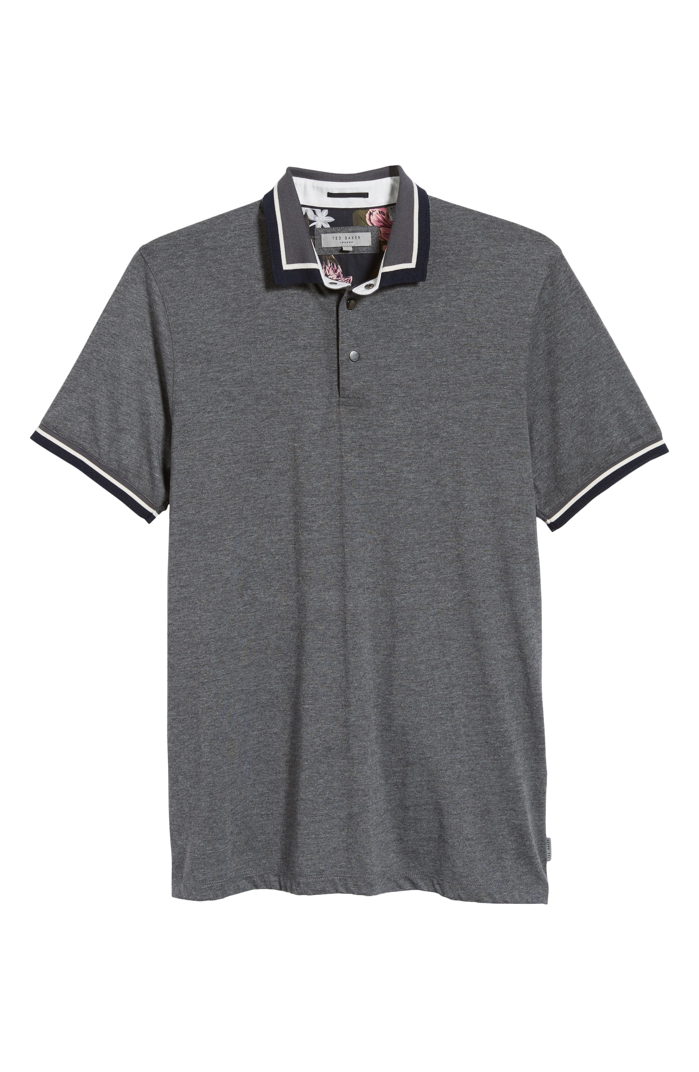 Slim Fit Gummy Polo,                             Alternate thumbnail 6, color,                             CHARCOAL