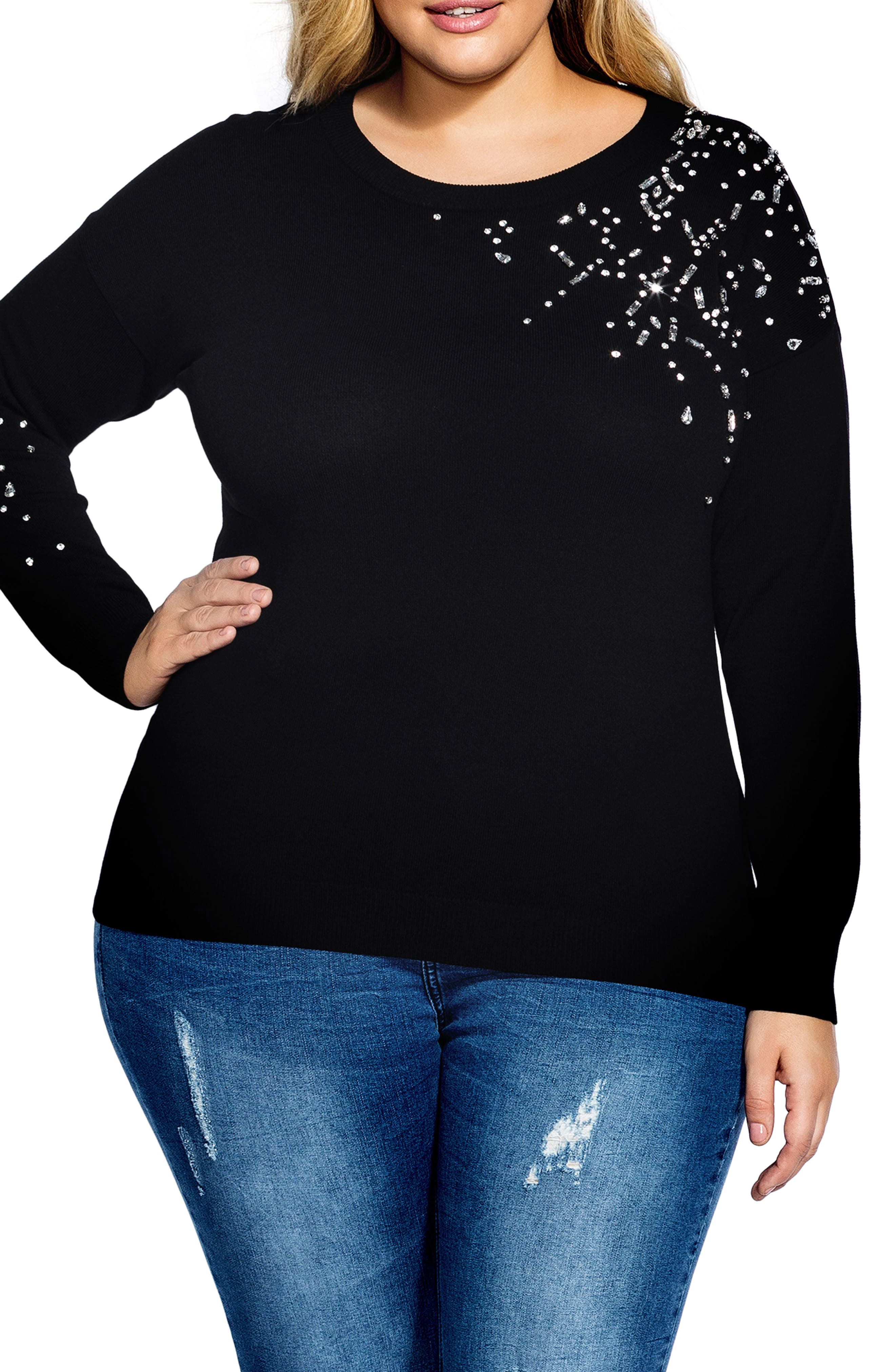 CITY CHIC,                             Embellished Sweater,                             Main thumbnail 1, color,                             BLACK