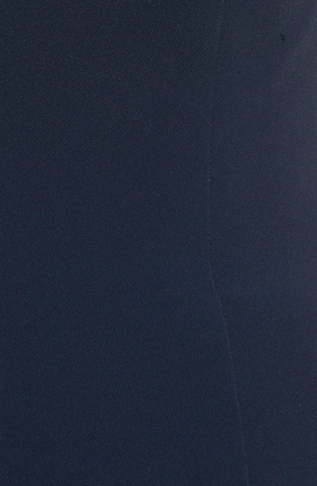 Lace Appliqué Crepe Off the Shoulder Trumpet Dress,                             Alternate thumbnail 5, color,                             493
