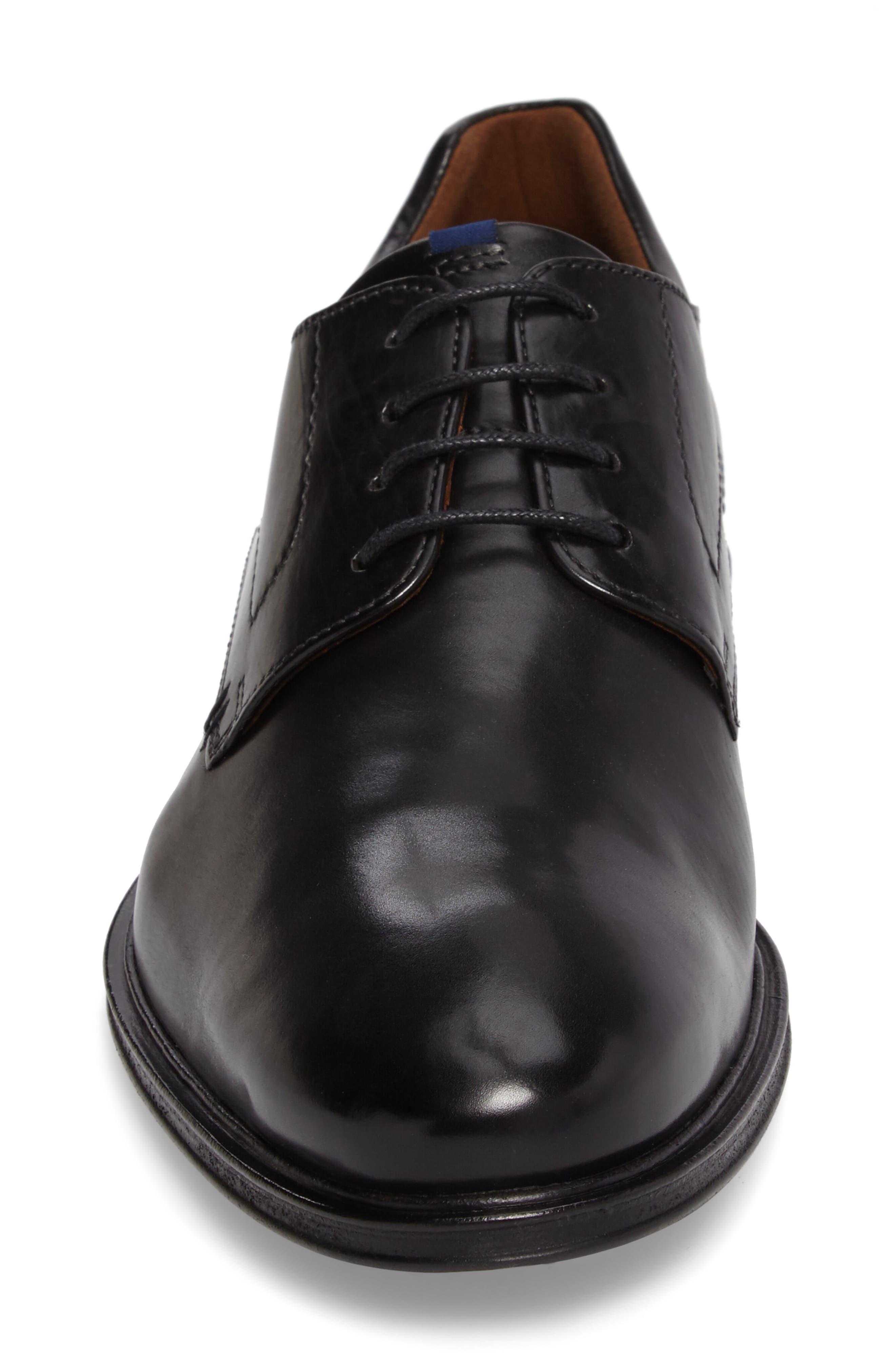 Milan Plain Toe Derby,                             Alternate thumbnail 4, color,                             BLACK LEATHER